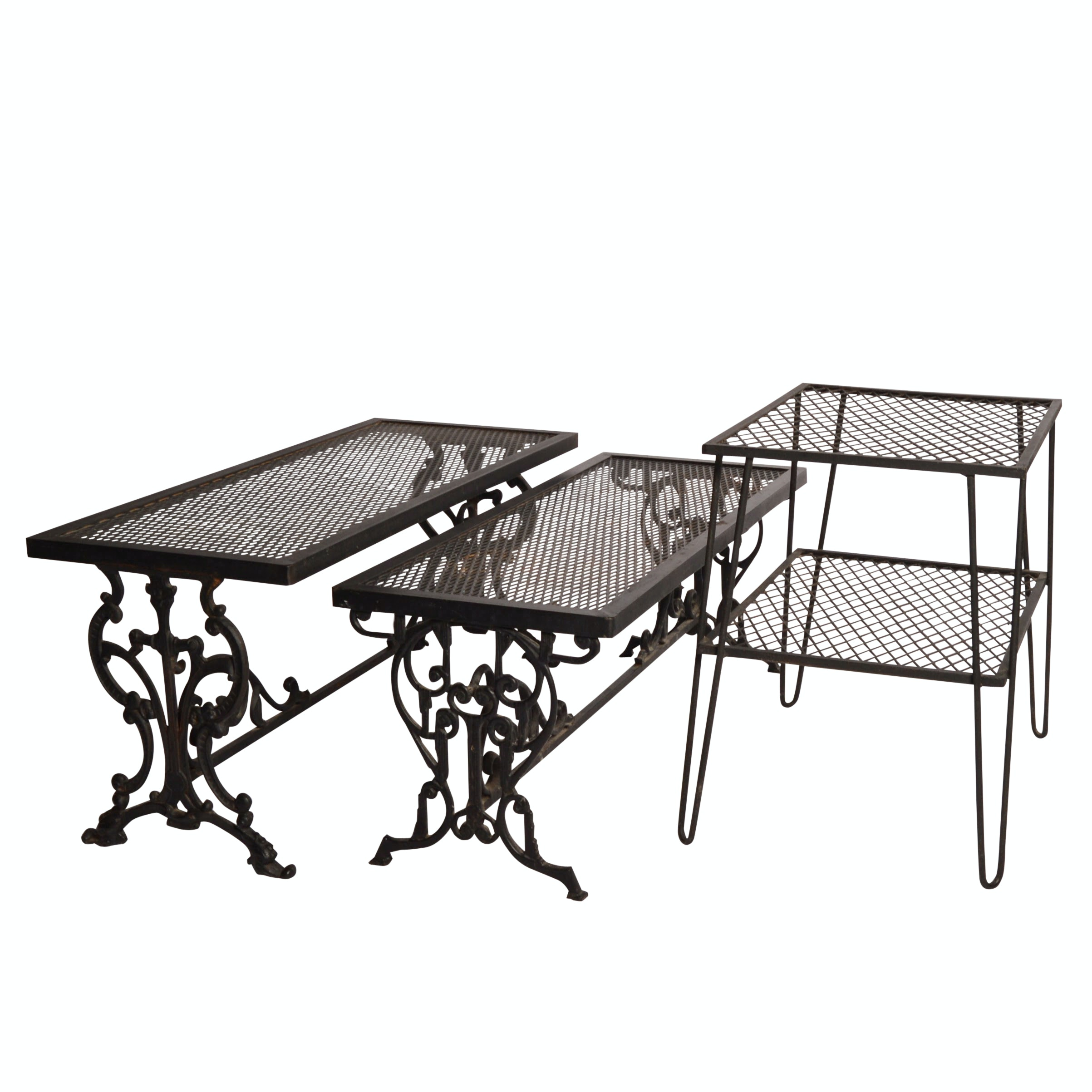 Pair of Cast Iron Benches and a Table