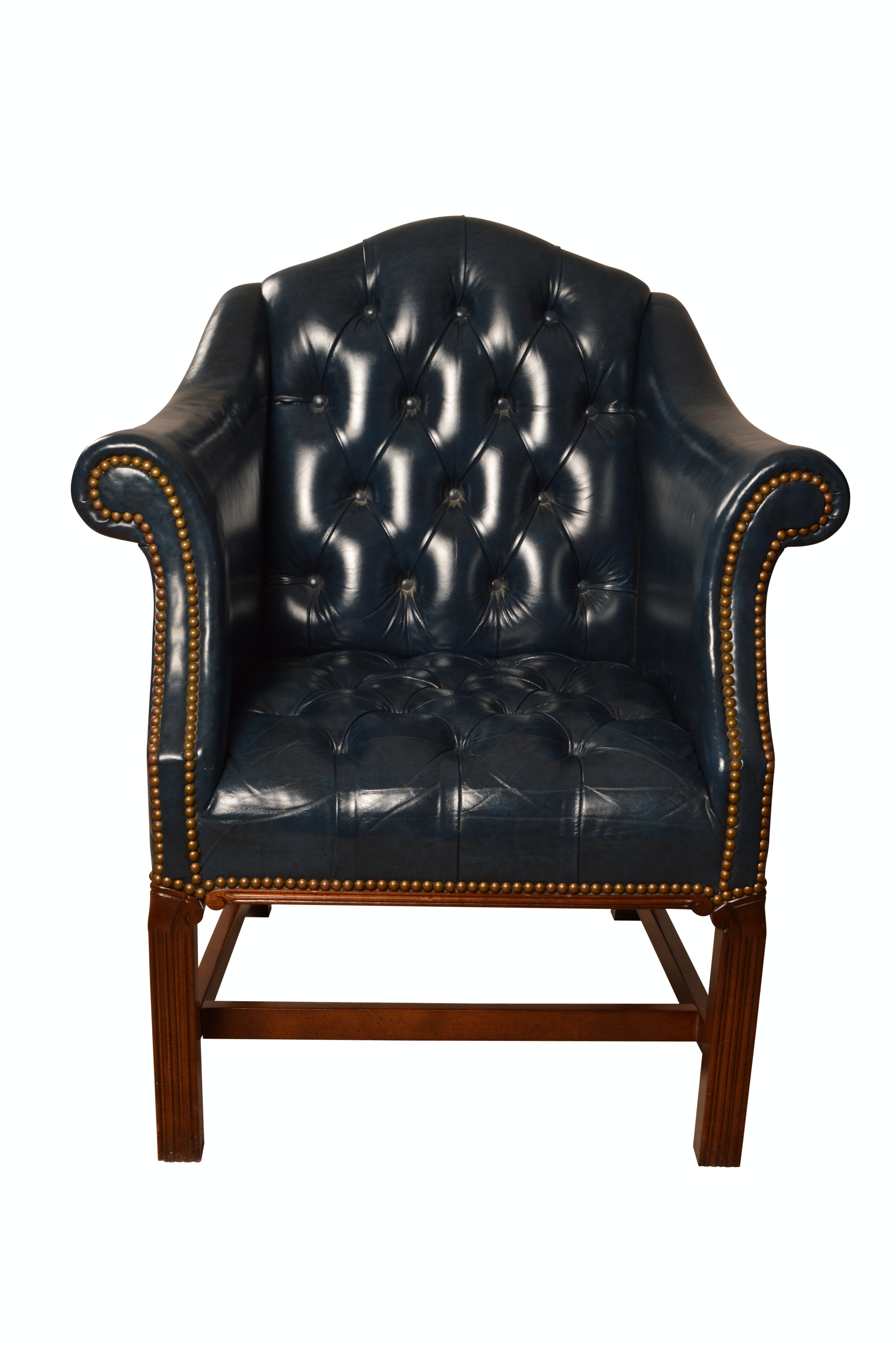 Chippendale Style Leather Armchair