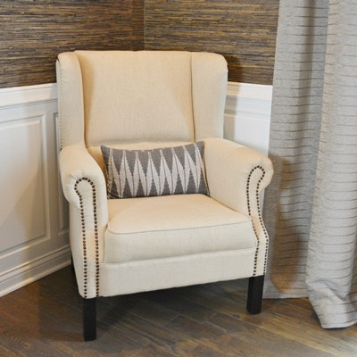Upholstered Nailhead Trim Armchair