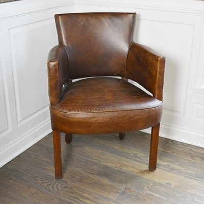 Faux Leather Nailhead Trim Armchair
