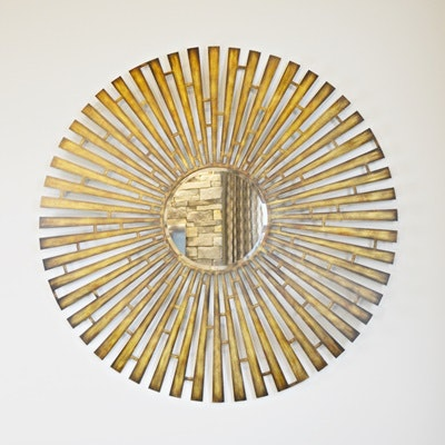 Brass Tone Beveled Glass Wall Mirror