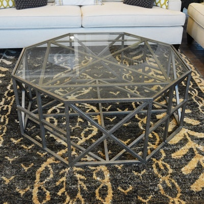 Octagonal Glass and Iron Coffee Table