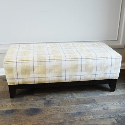 Tufted and Plaid Upholstered Bench