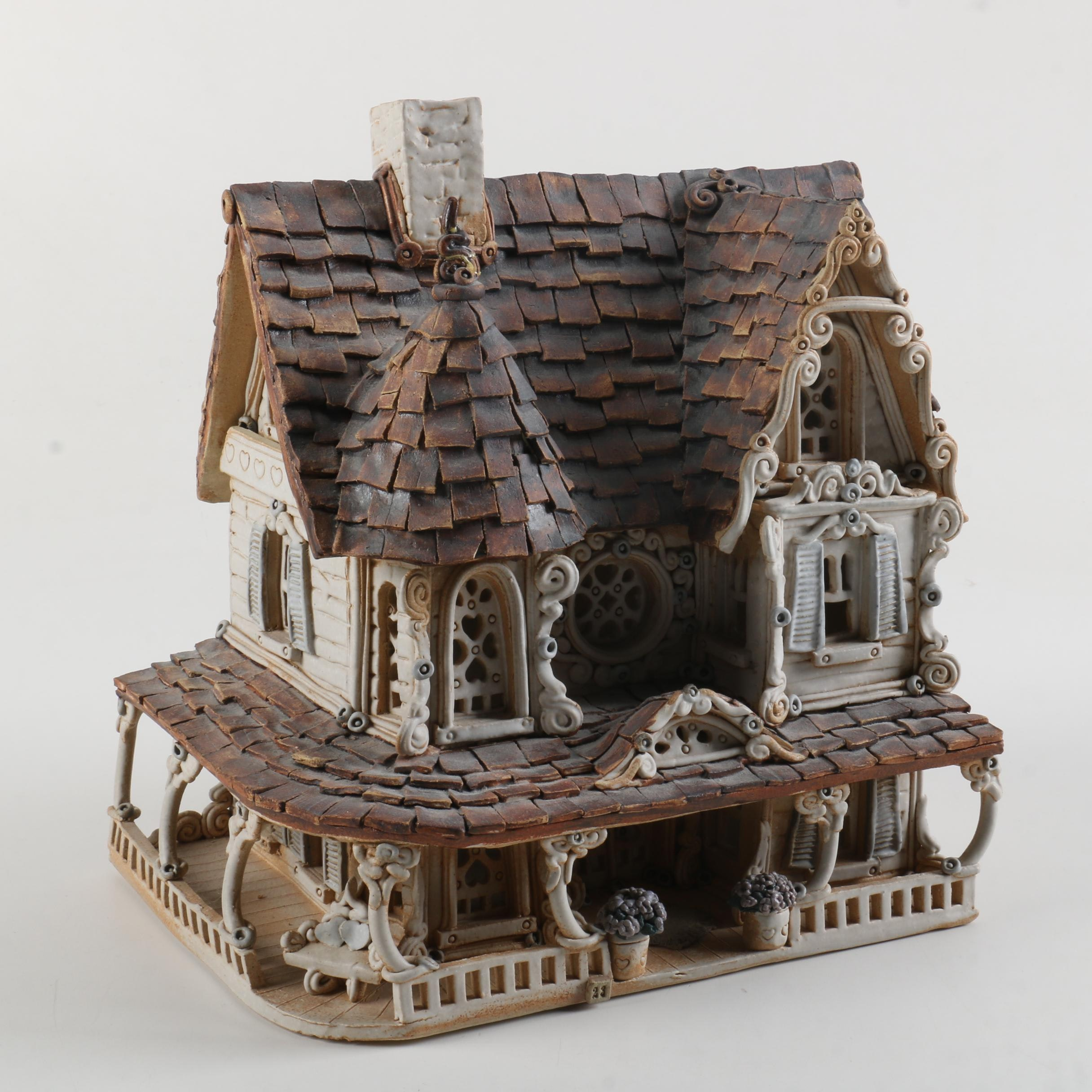 "Limited Edition Windy Meadows Pottery ""Wisteria"" House"