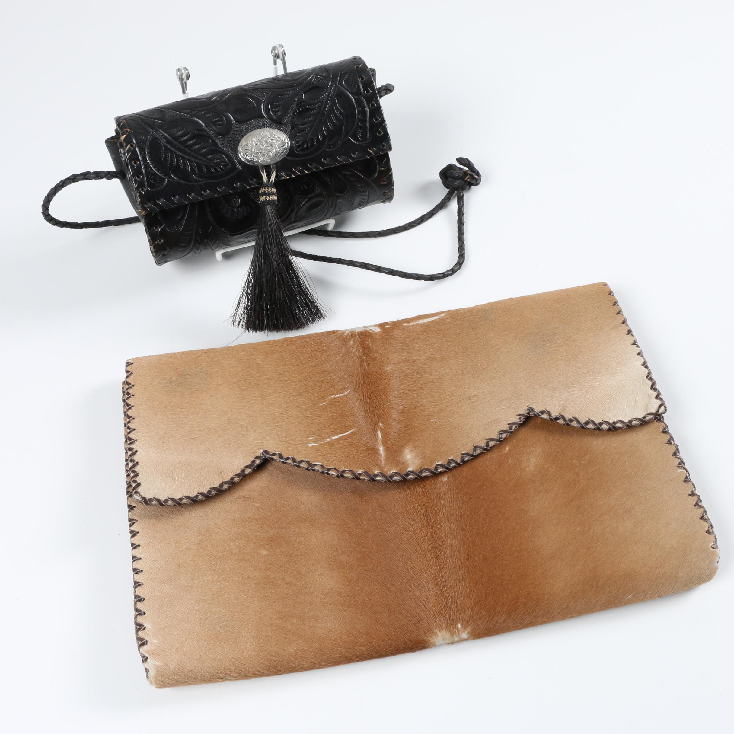 Vintage Pony Hair Clutch and Tooled Leather Horse Hair Crossbody Bag