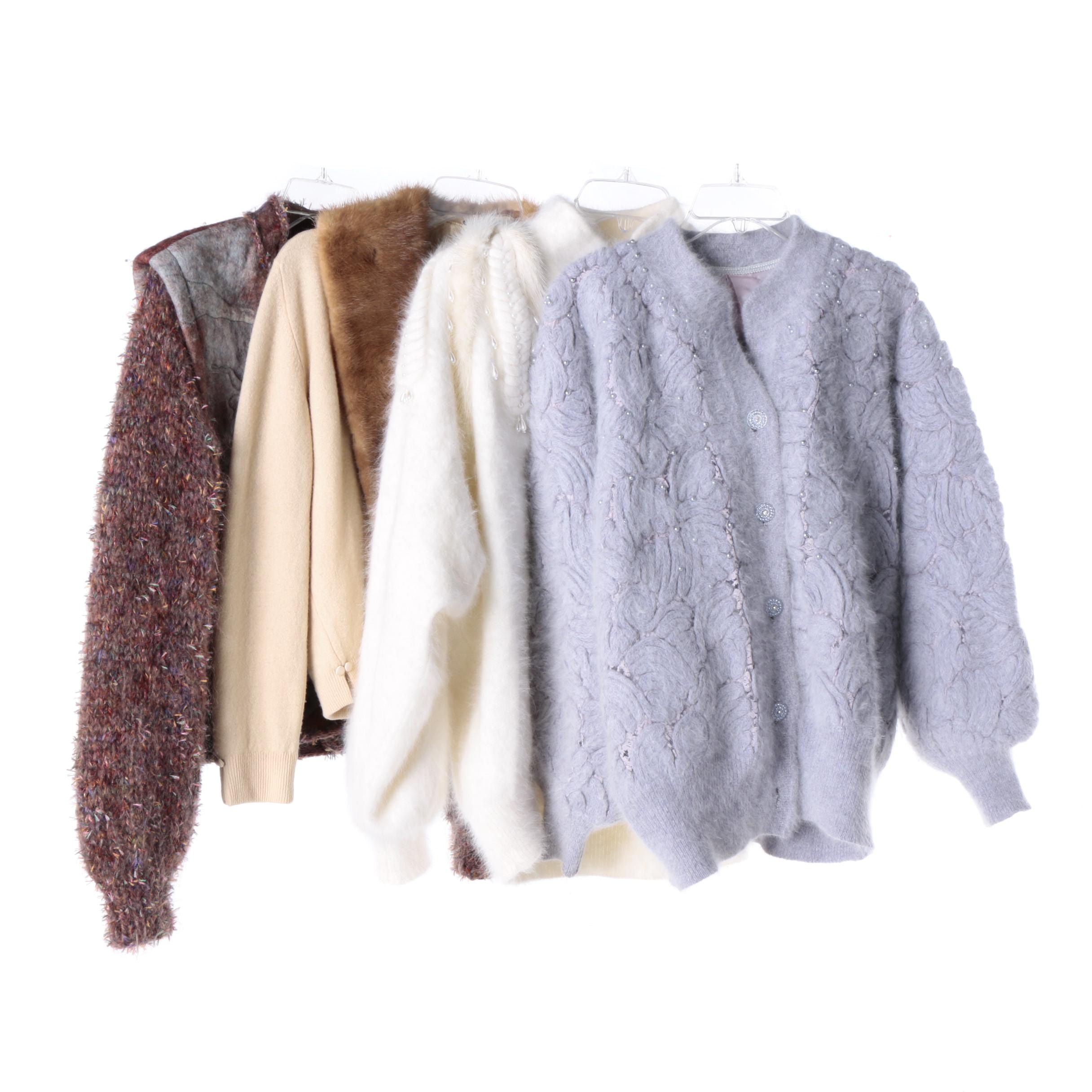 Angora and Knit Sweaters Including Mink Fur Collar