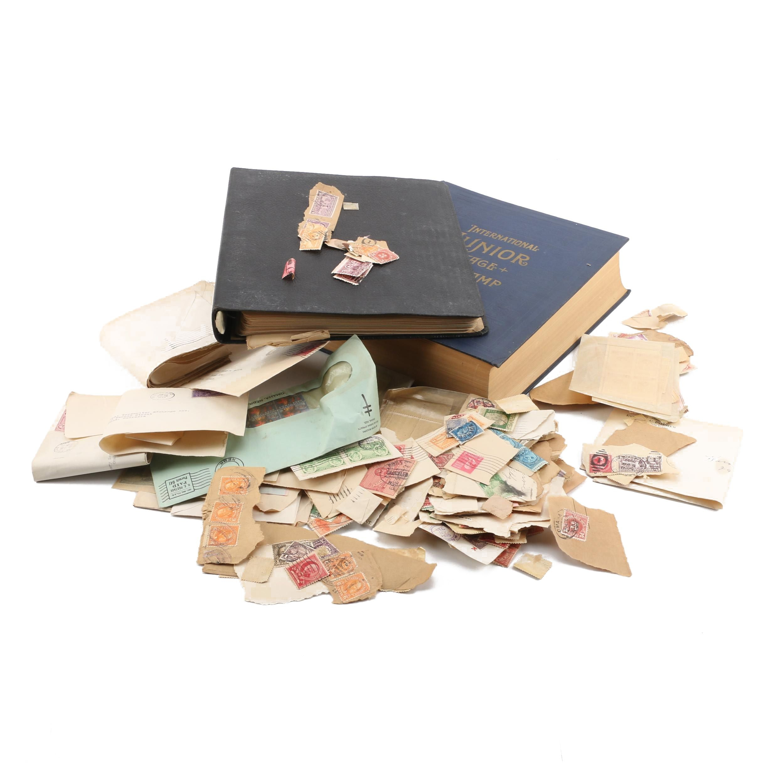 Loose Vintage Stamp Collection with Two Vintage Albums