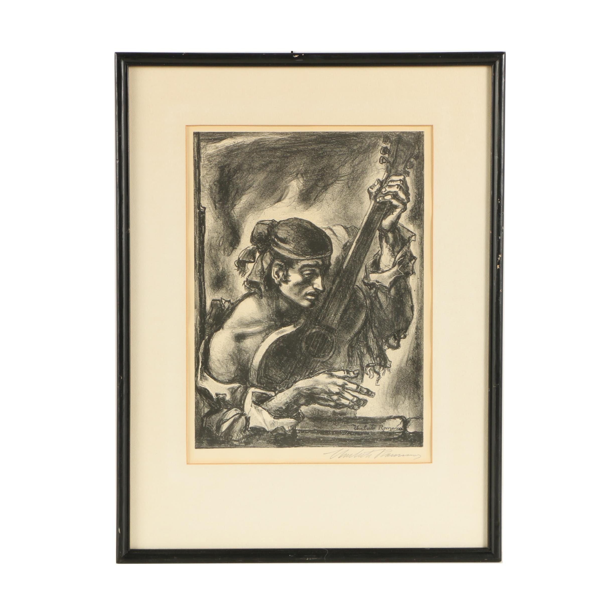 "Umberto Romano Lithograph ""Gypsy's Guitar"""