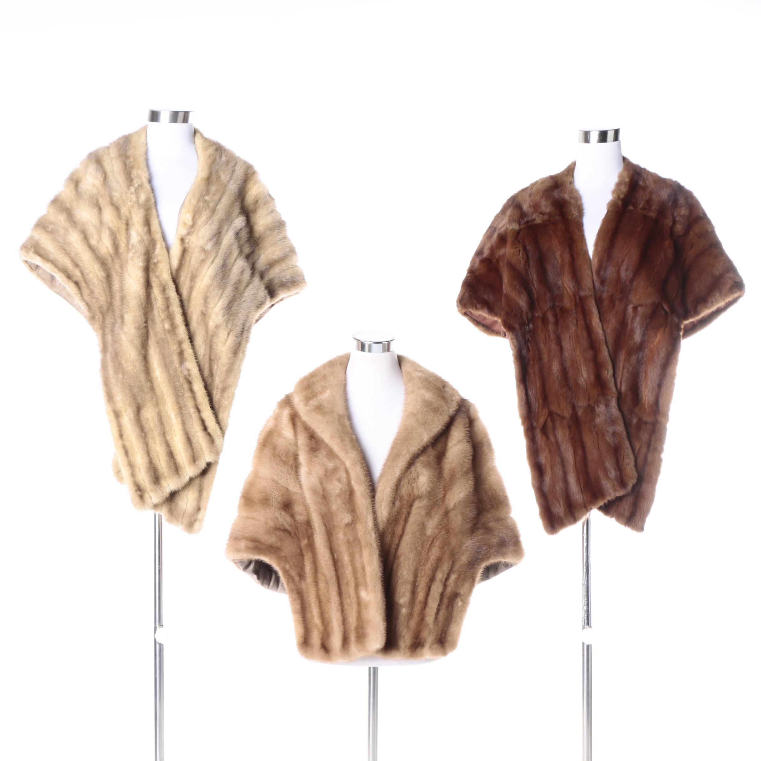 Three Vintage Mink and Squirrel Fur Stoles