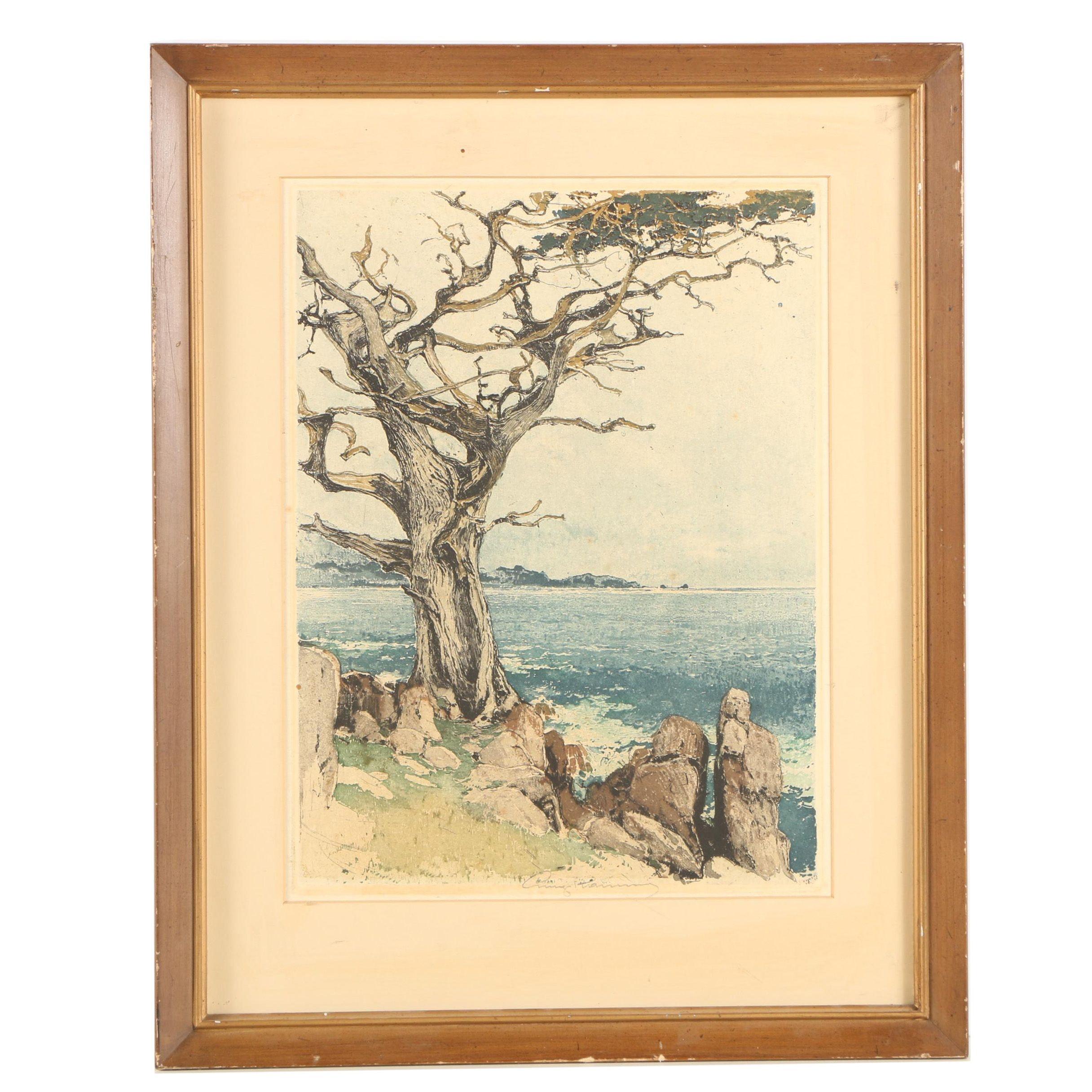 "Luigi Kasimir Circa 1930s Etching ""Carmel by the Sea"""