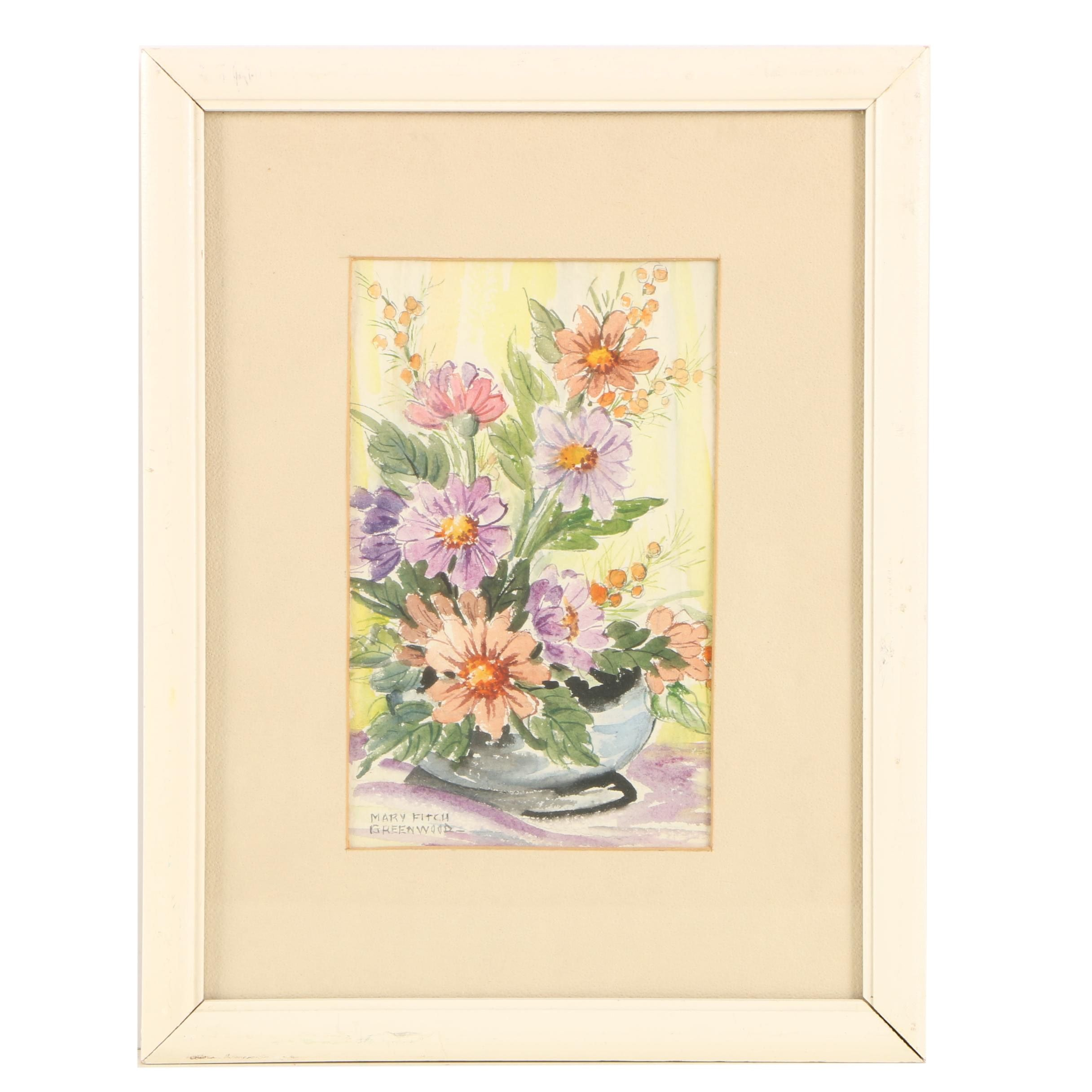 """Mary Fitch Greenwood Watercolor Painting """"Flower Arrangement"""""""