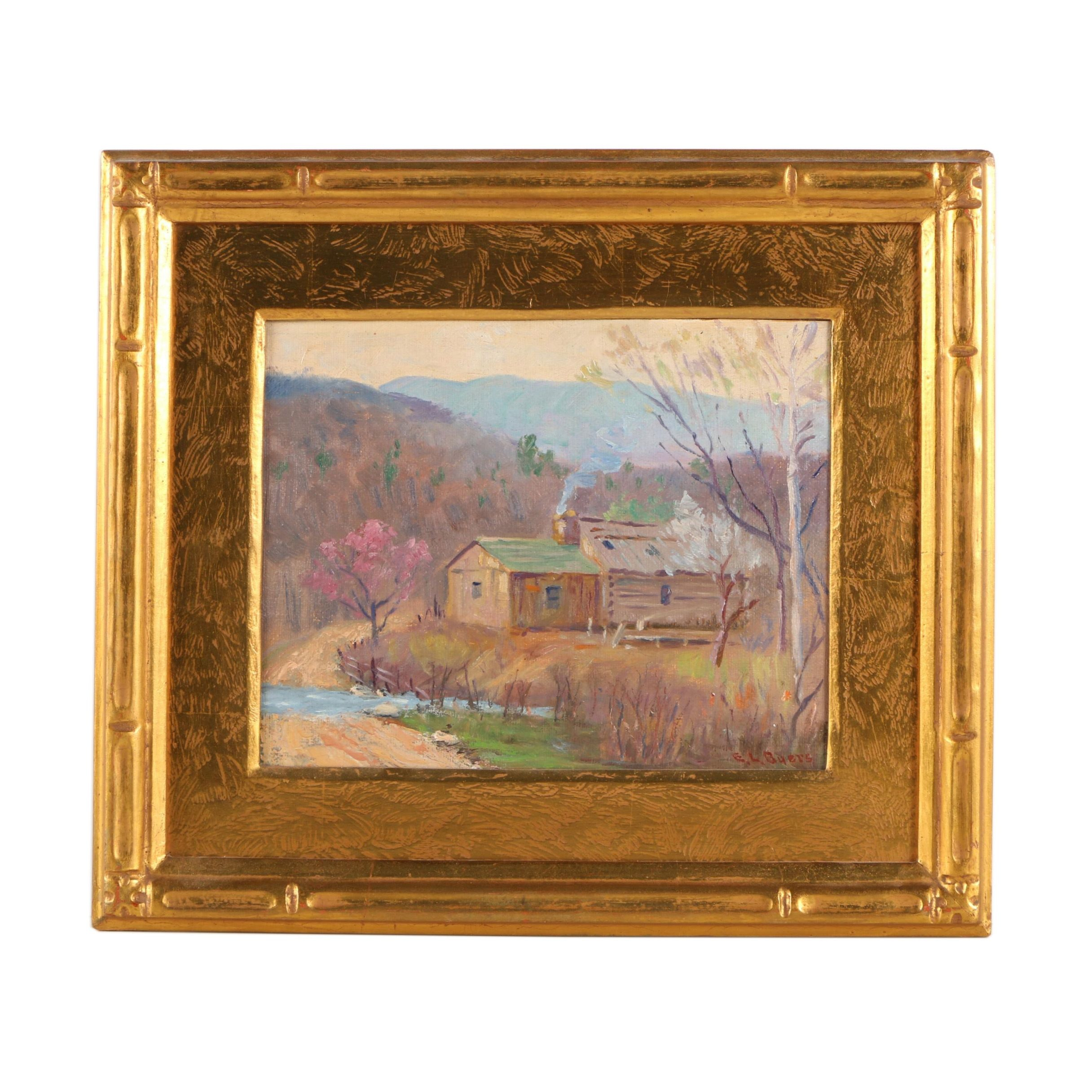 """E.L. Byers Oil Painting """"Spring in the Smoky Mountains"""""""