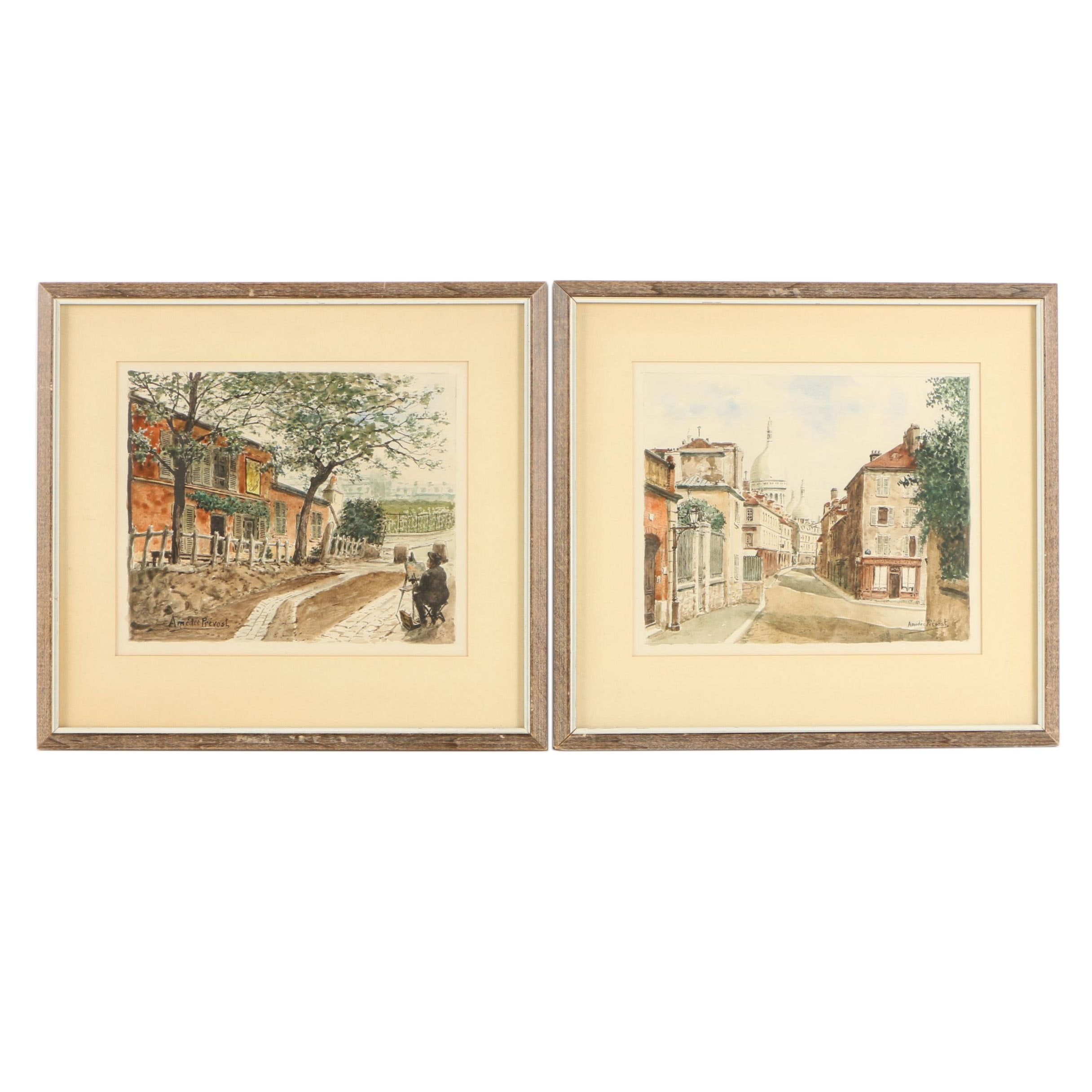 Two Amédée Prevost Watercolor Paintings on Paper of Street Scenes