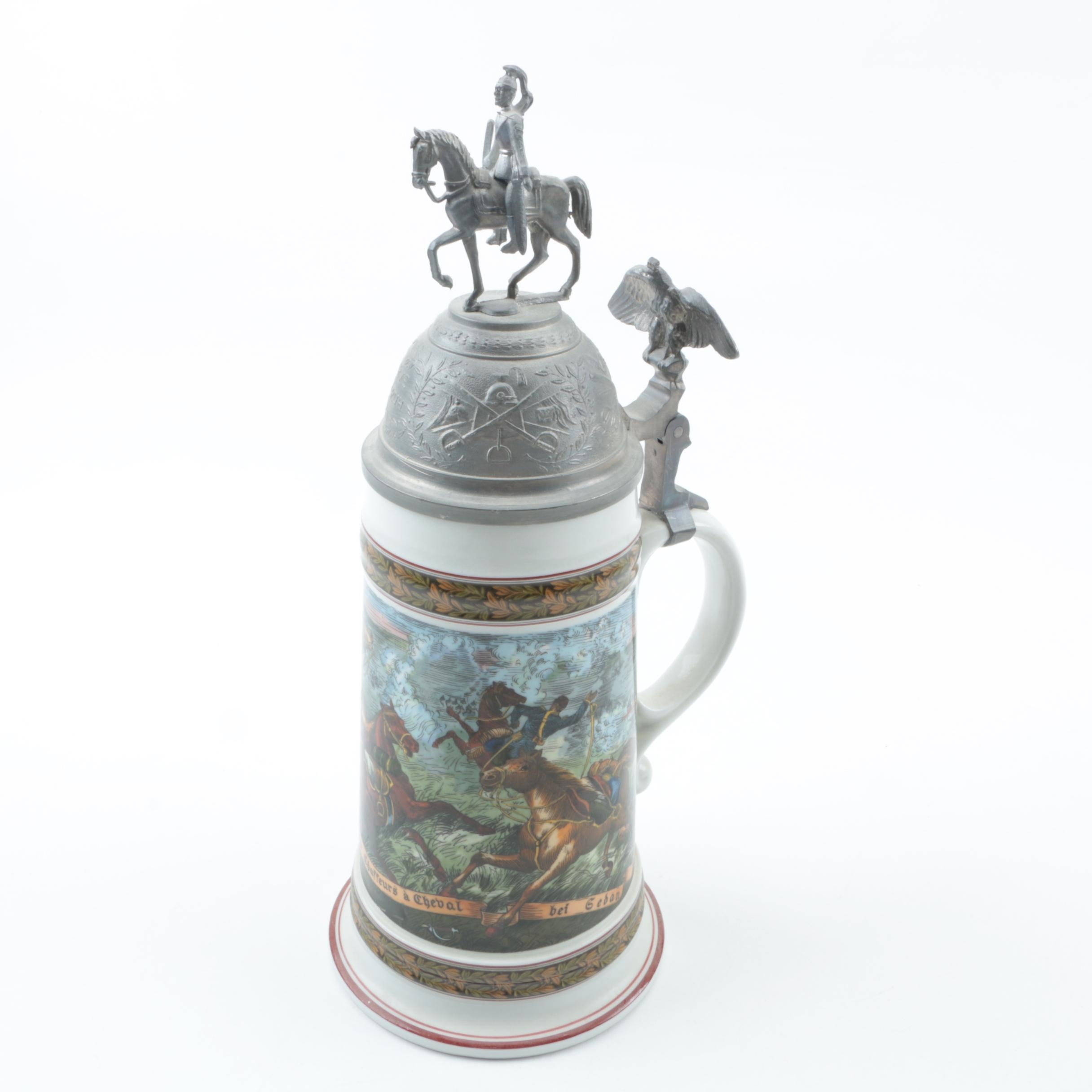 Chasseurs à Cheval Ceramic Beer Stein With Pewter Lid