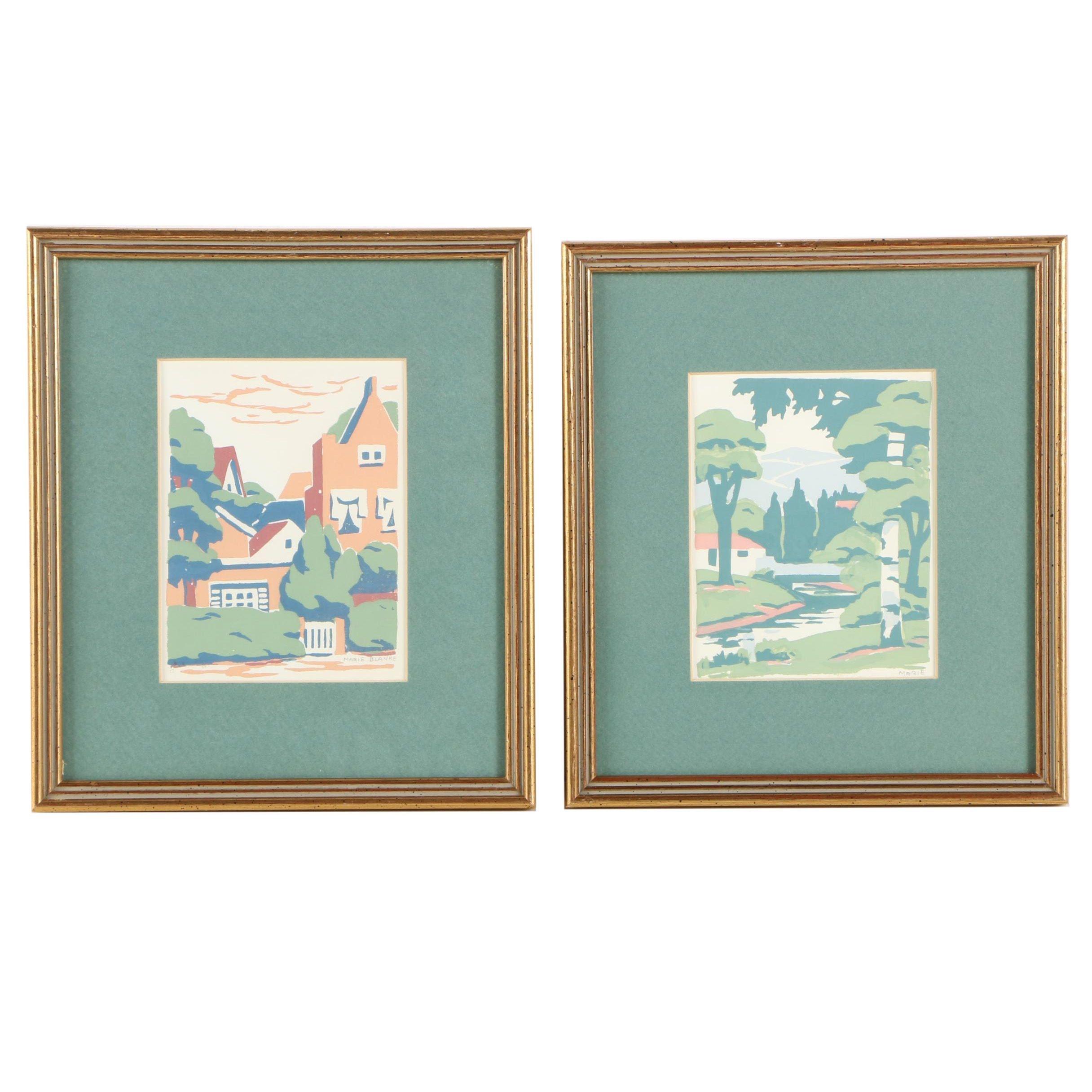Marie Blanke Serigraph Prints on Paper