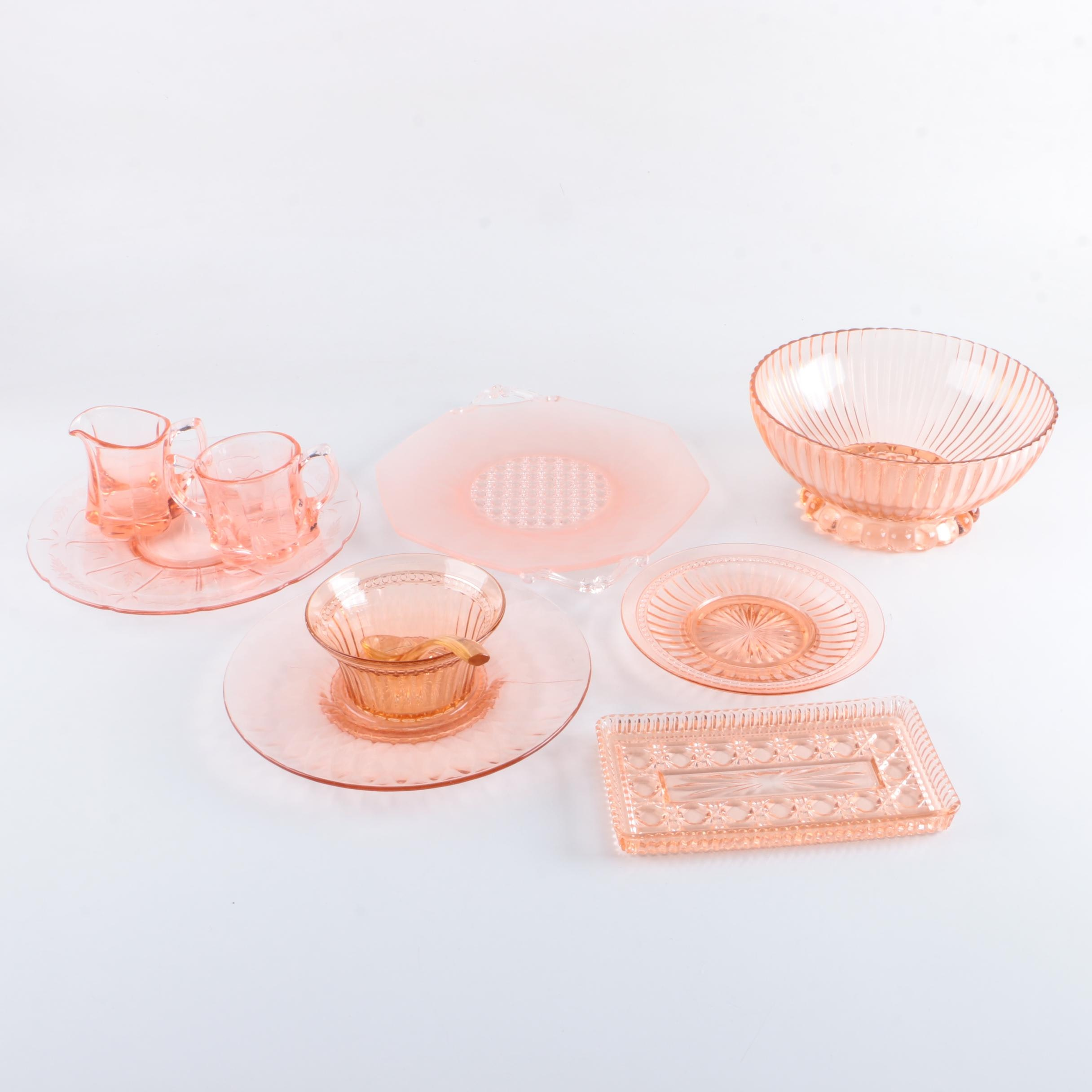 Pink Glass Serving Trays, Bowls, and Creamer with Sugar