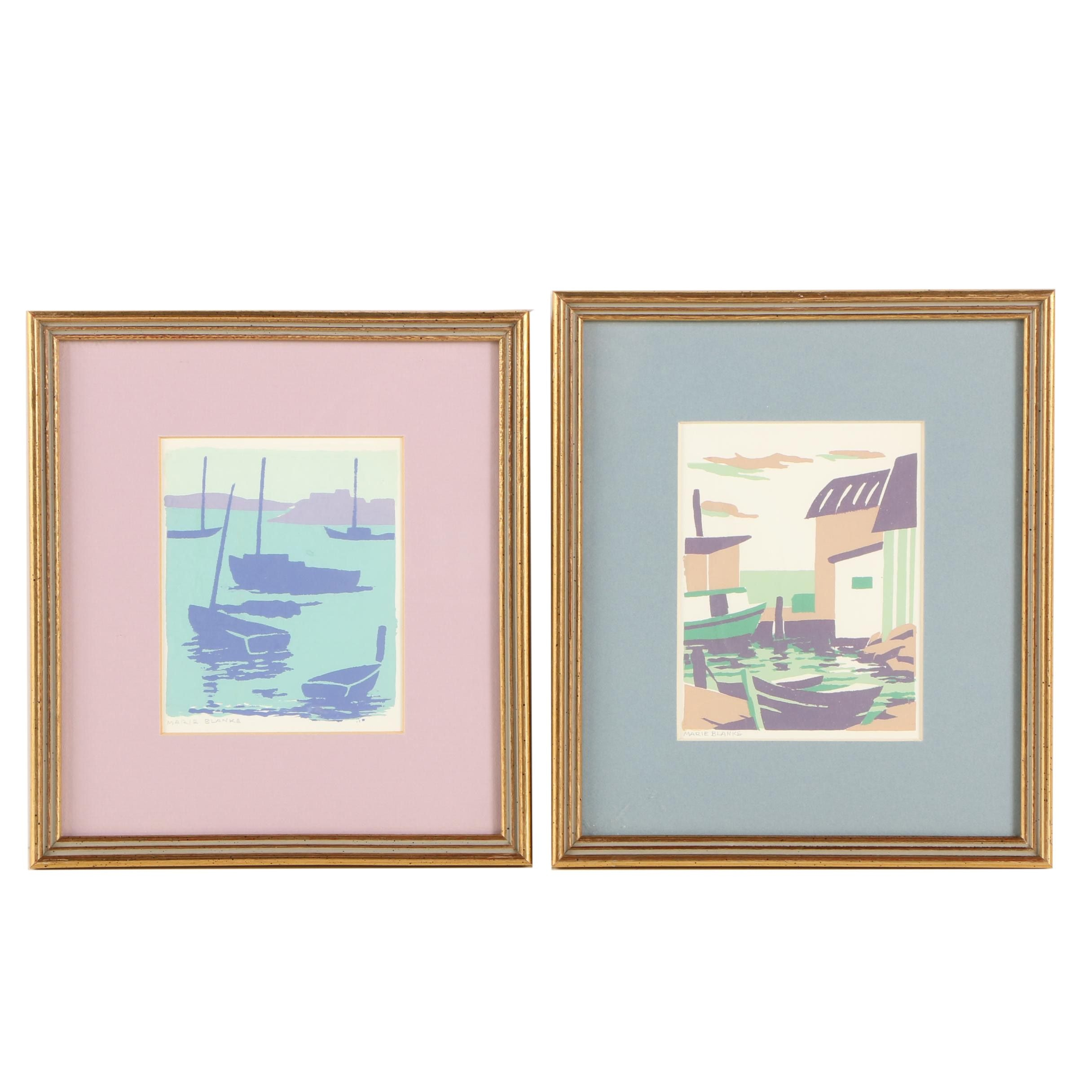 Marie Blanke Nautical Themed Serigraph Prints on Paper