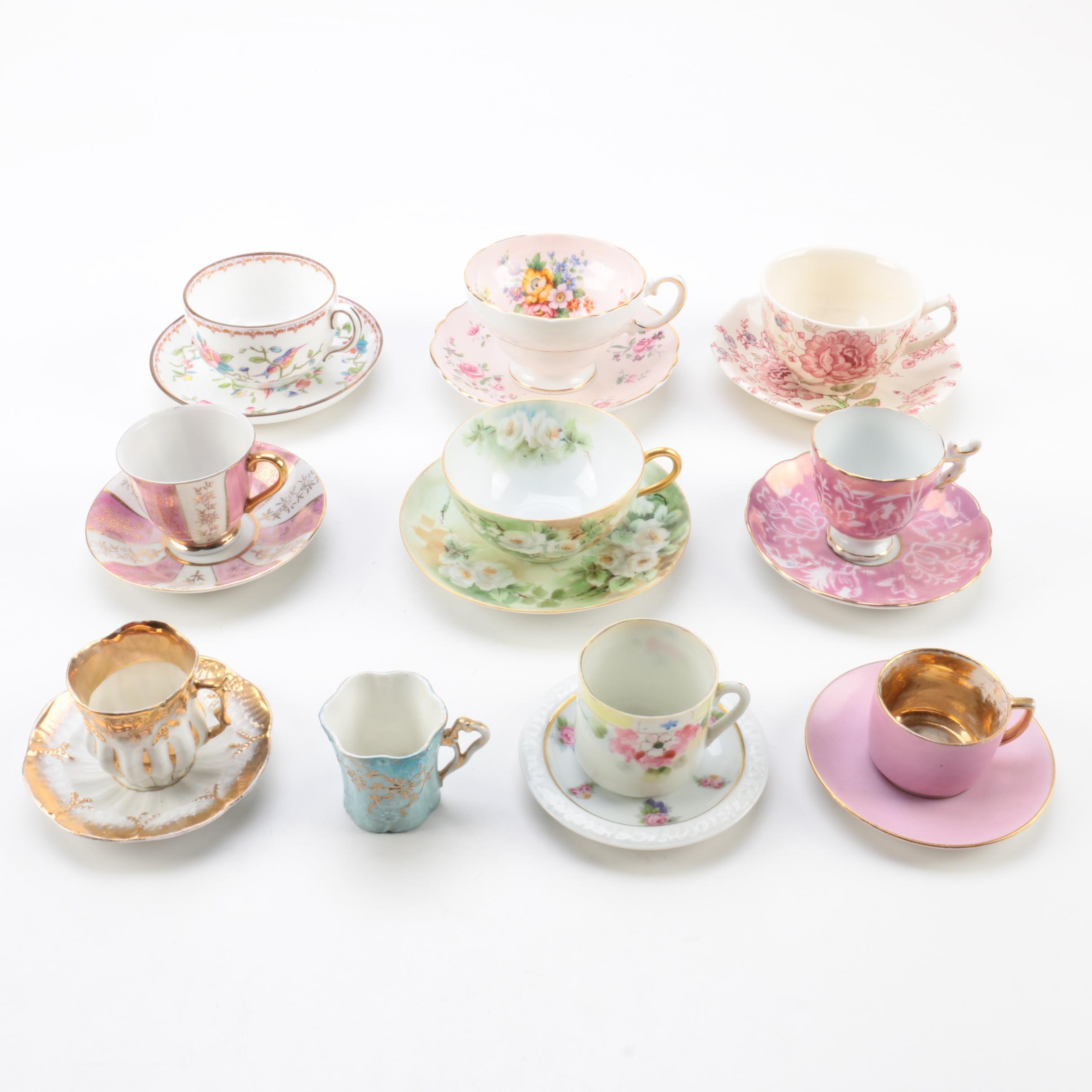 Antique and Vintage Teacups Including Coalport and Rosenthal