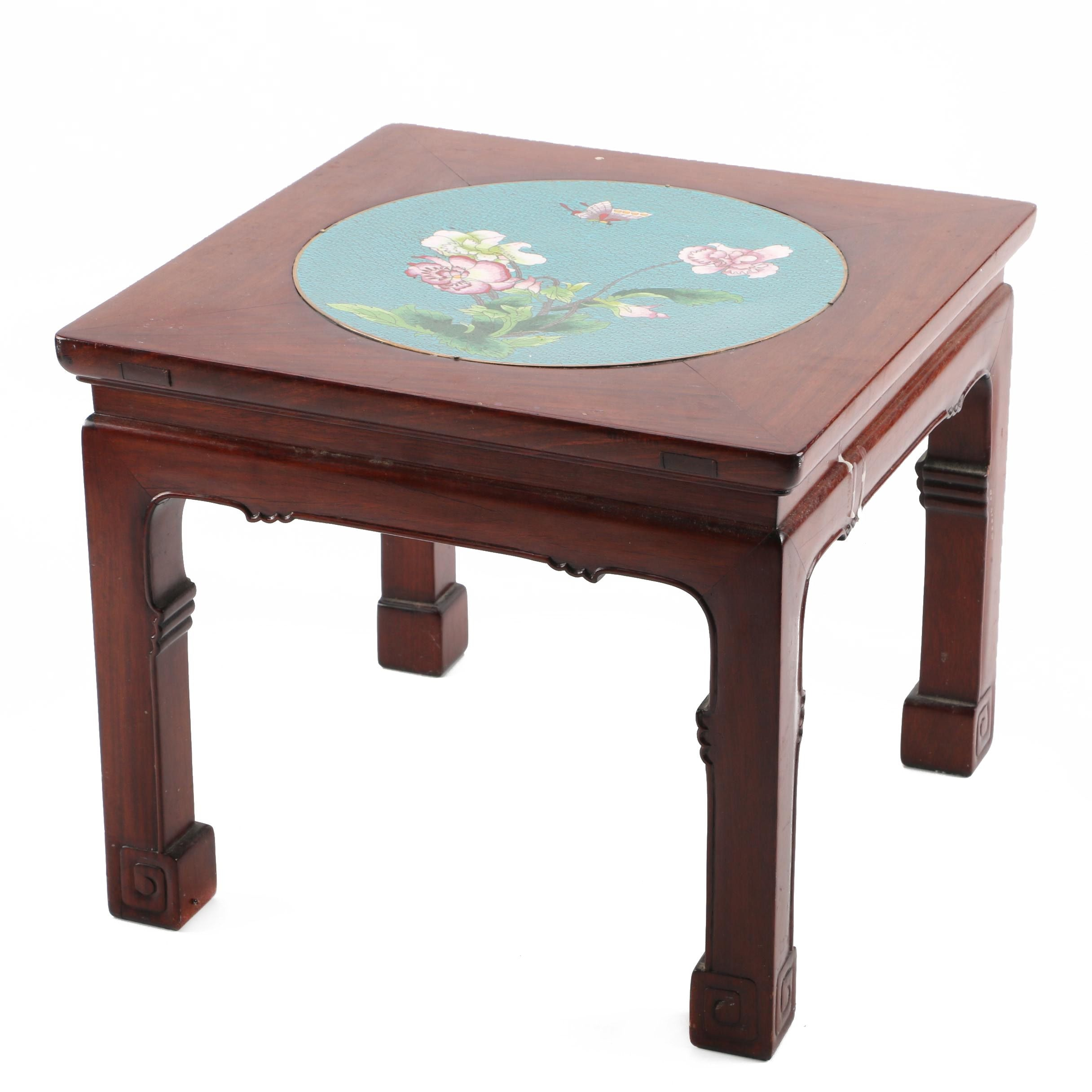 Chinese Teak Table with Cloisonné Insert