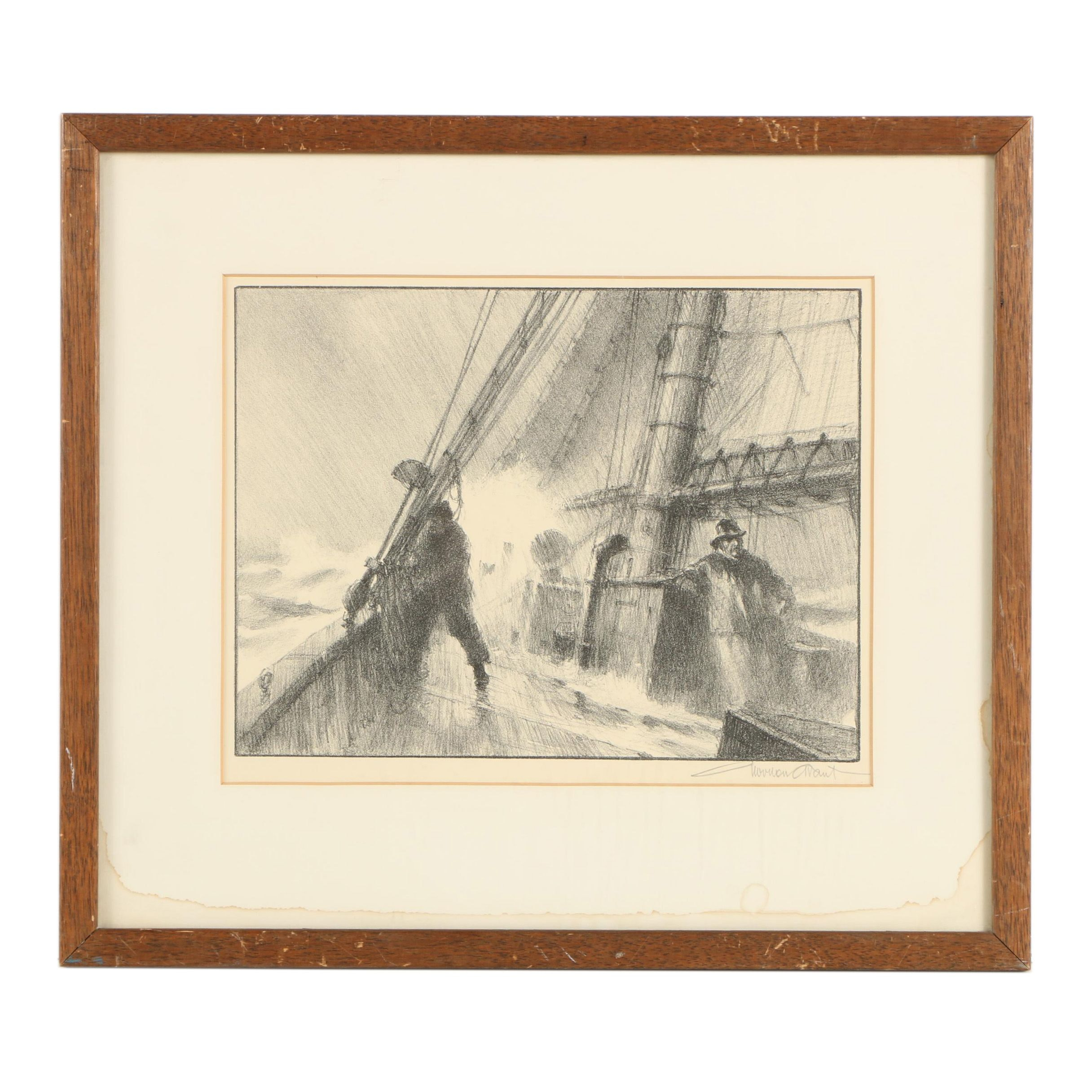 "Gordon Grant Lithograph ""Heading for Port"""