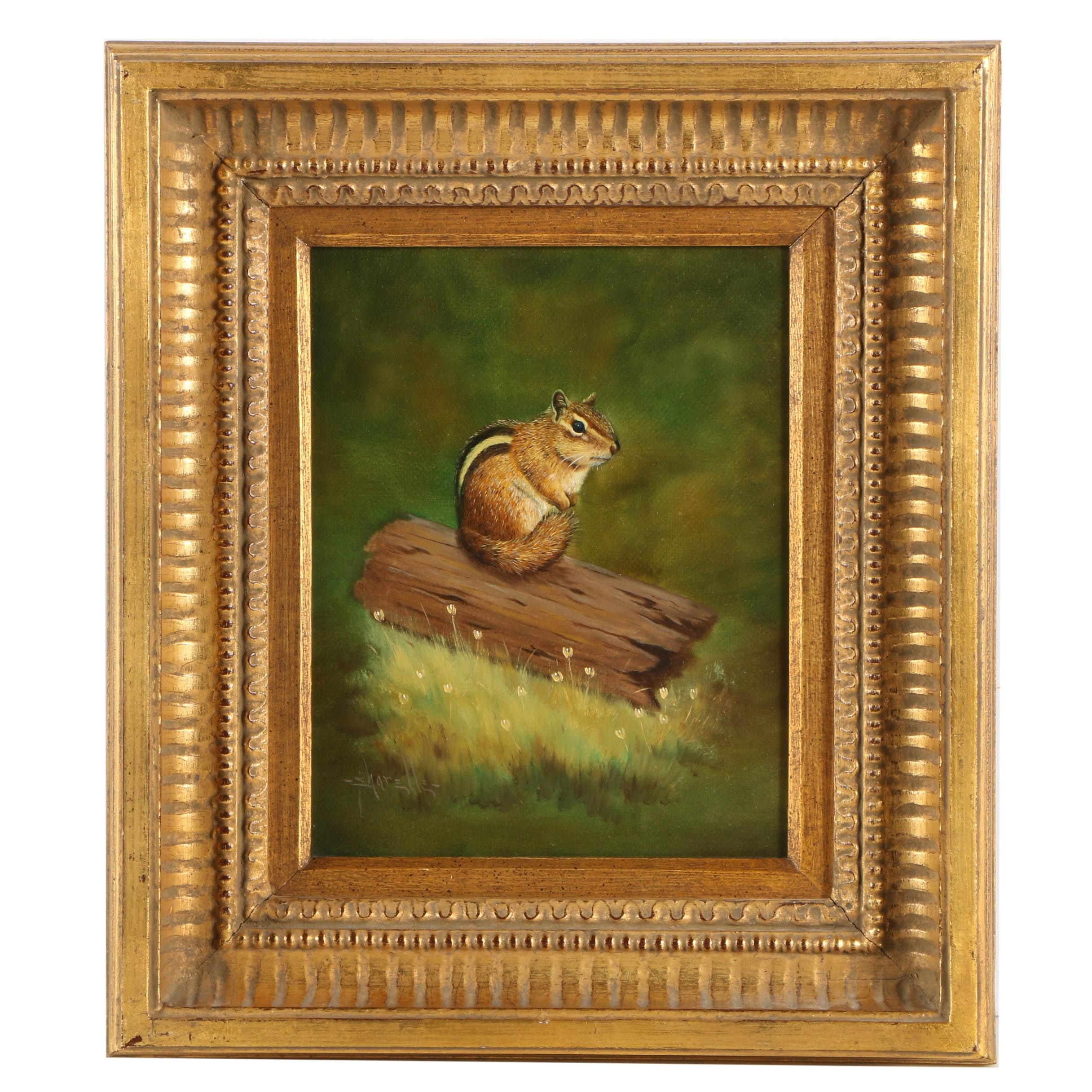 Sharelle Oil Painting on Board of Chipmunk