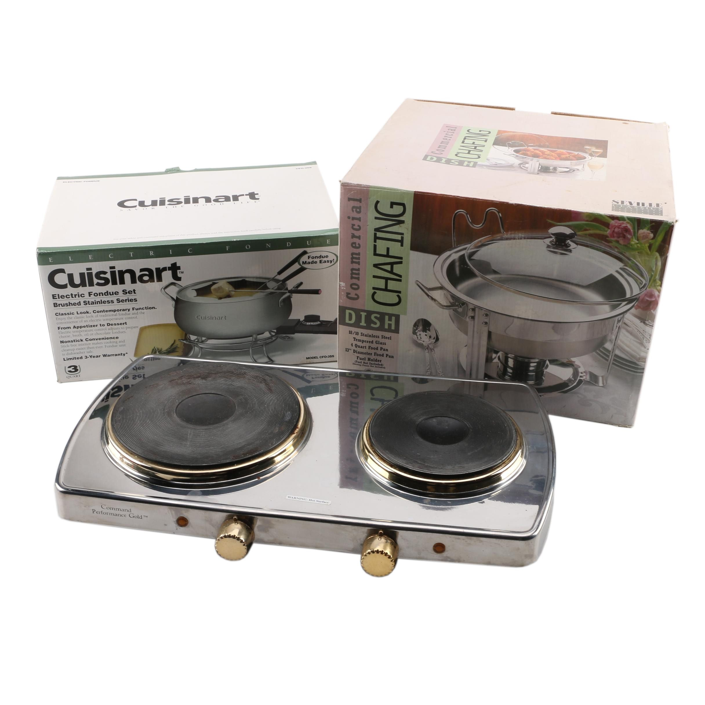 Cuisinart Fondue Set, Command Performance Hot Plate and Chafing Dish