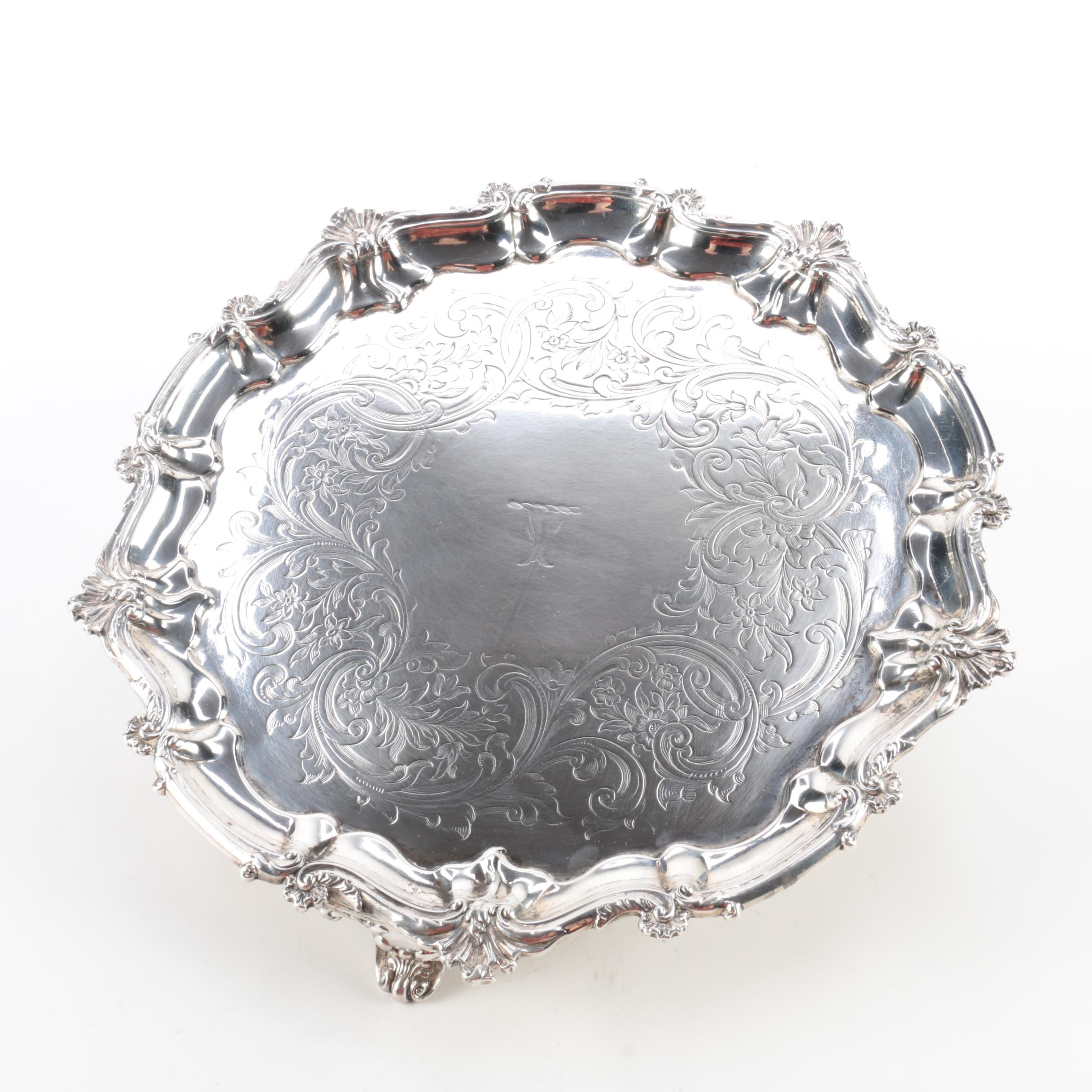 1843 John Angell & George Angell Sterling Silver Footed Tray