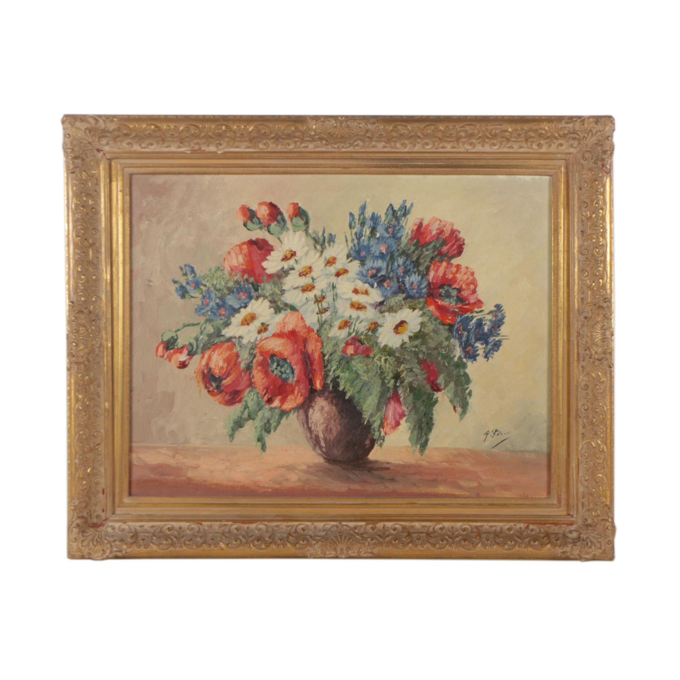 P. S. Oil Painting of Flowers
