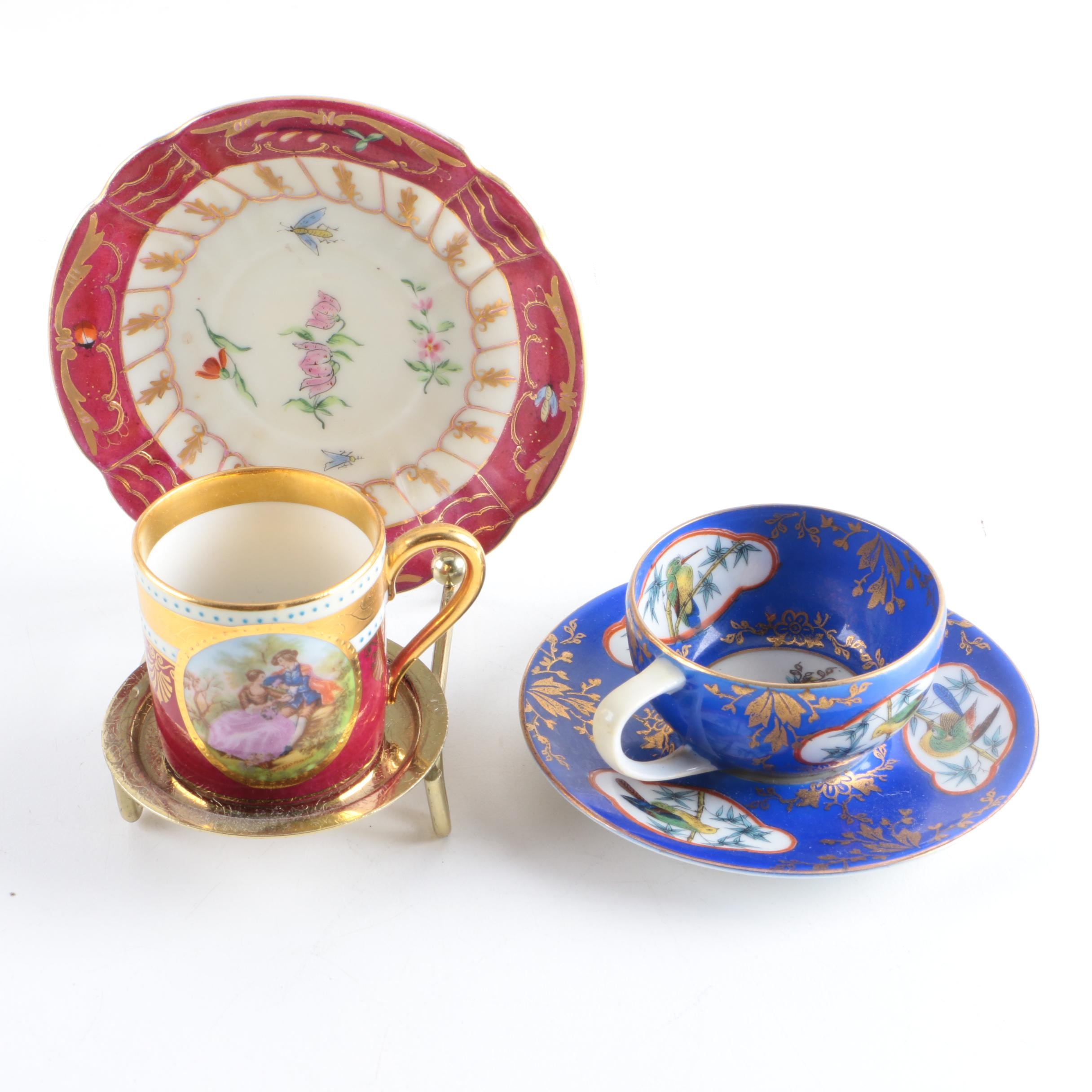 Hand-Painted Porcelain Teacups and Saucers Featuring R.S. Tillowitz