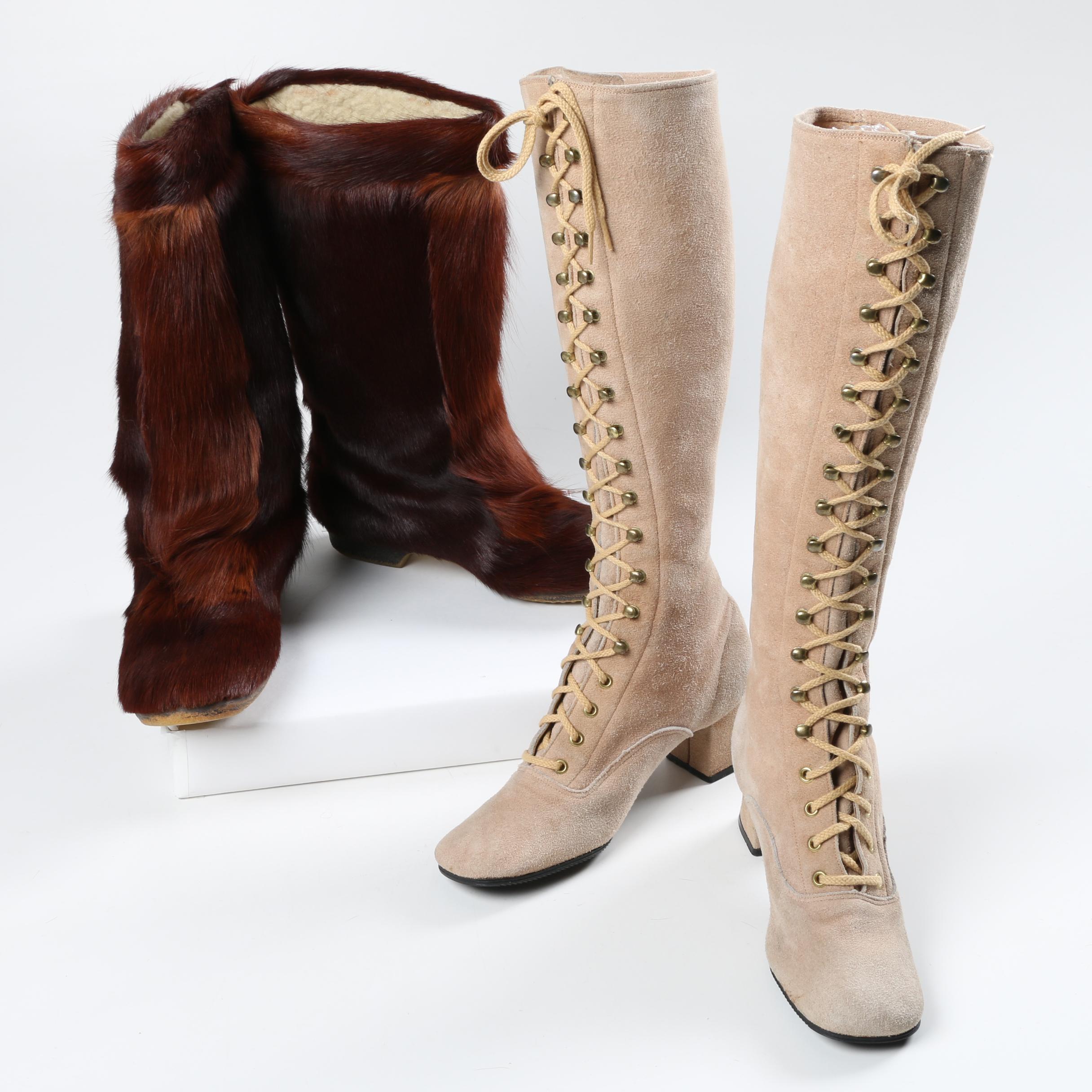 No. 6 Deanna Suede Lace Up Boots and Vintage Isba Goat Fur Après Ski Boots