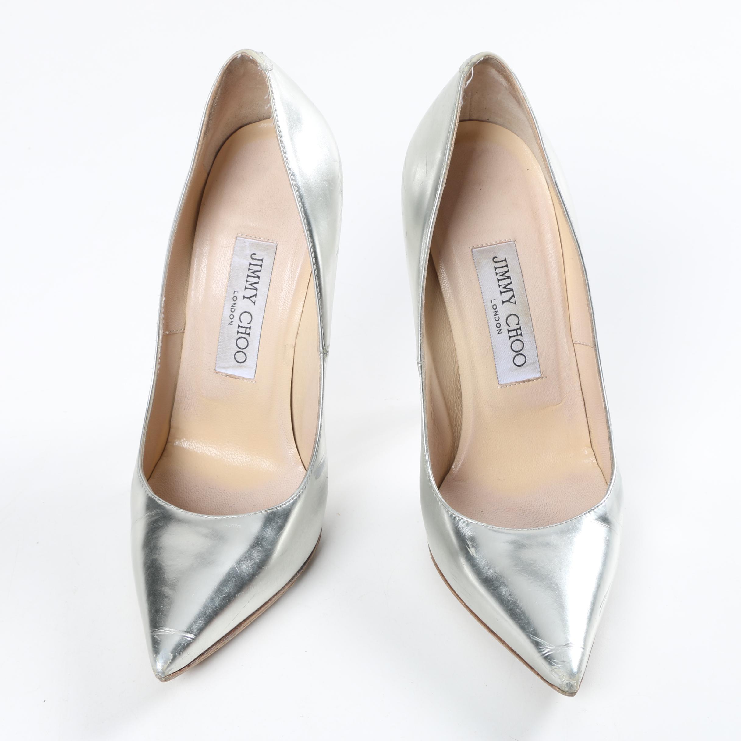Jimmy Choo Metallic Silver Heels