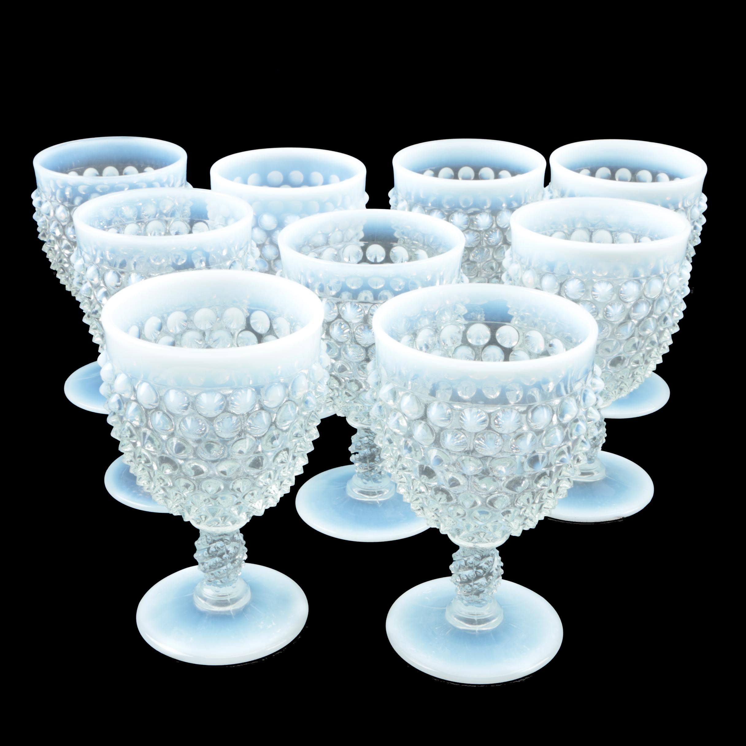 "Vintage Fenton ""Hobnail French"" Opalescent Glass Water Goblets"