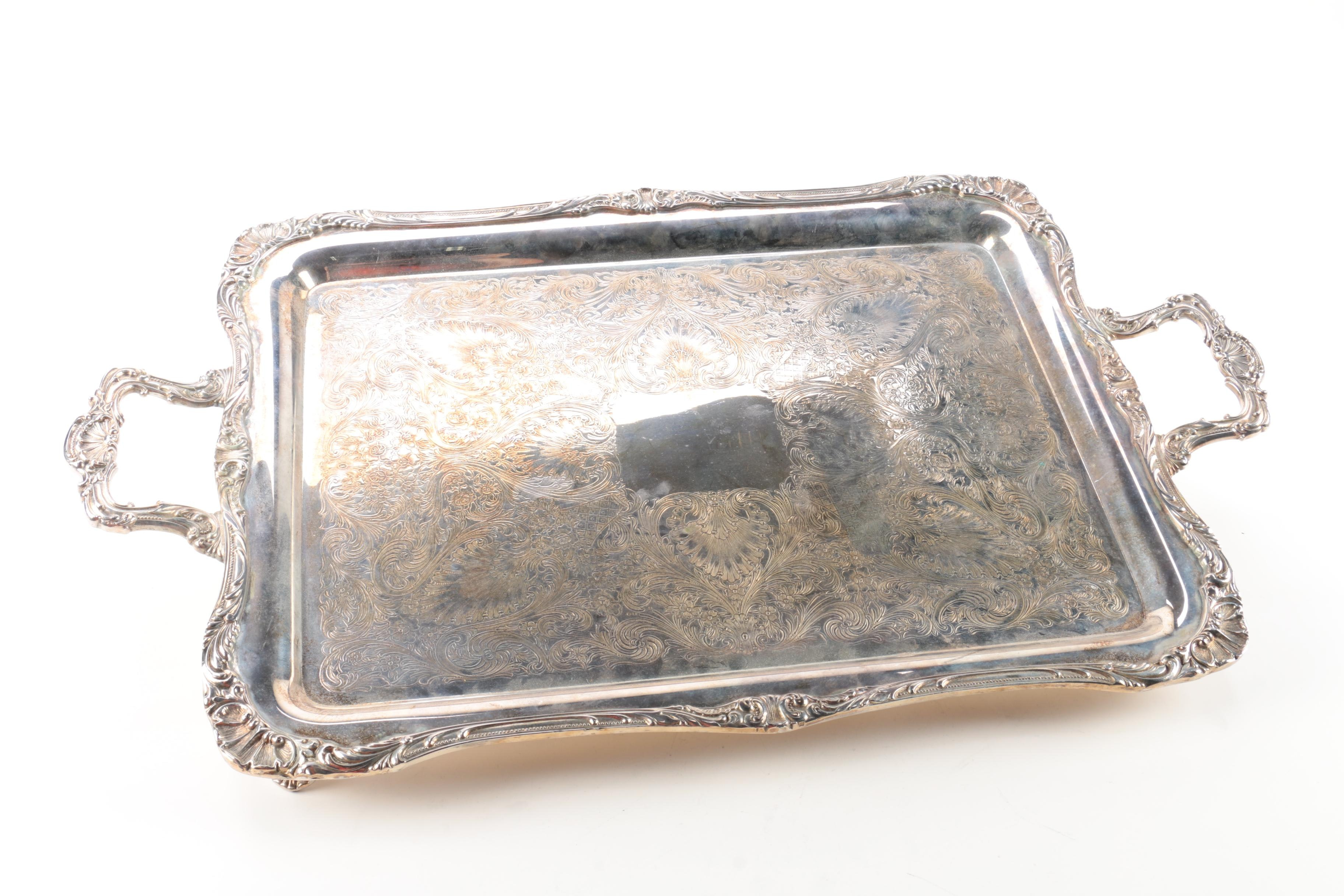 "Wm Rogers & Son ""Spring Flower"" Silver Plate Footed Serving Tray"