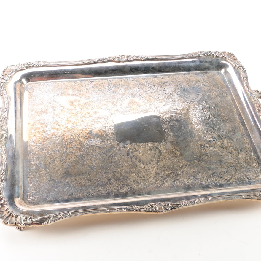 Wm rogers son spring flower silver plate footed serving tray ebth wm rogers son spring flower silver plate footed mightylinksfo