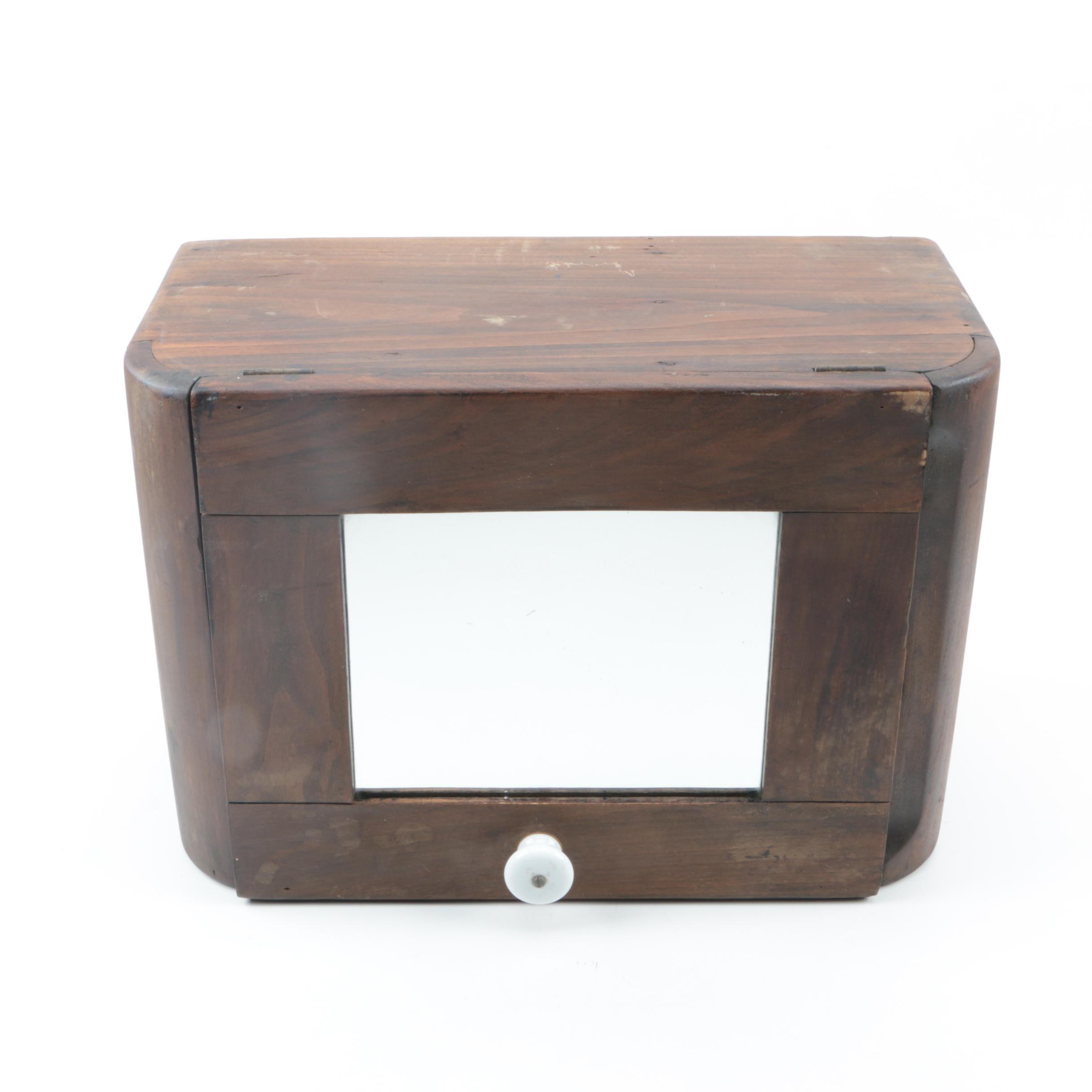 Vintage Rustic Walnut Bathroom Medicine Cabinet