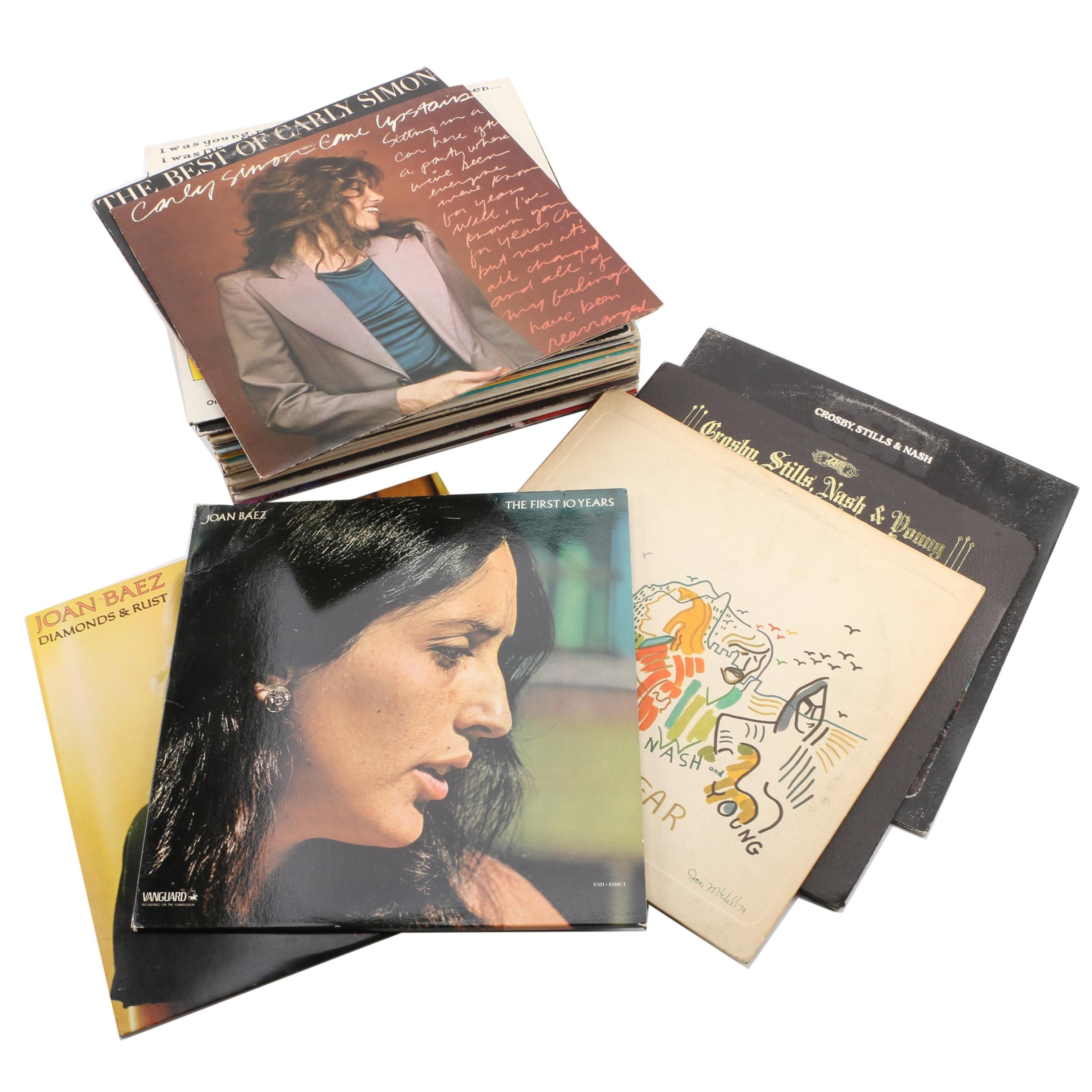 Vintage Folk Records Featuring Joan Baez and Crosby, Stills, Nash, and Young