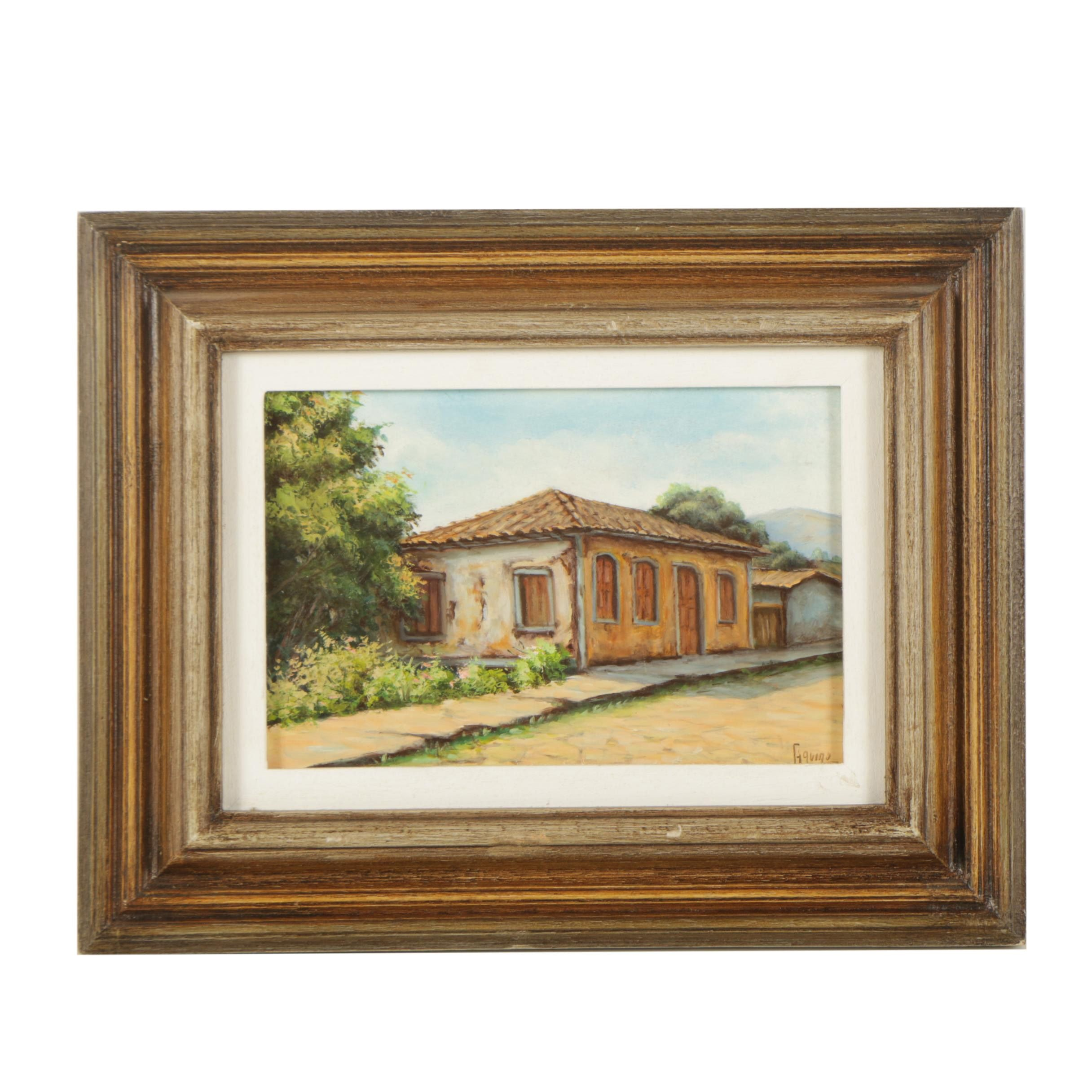 Aquino Oil Painting of a Village