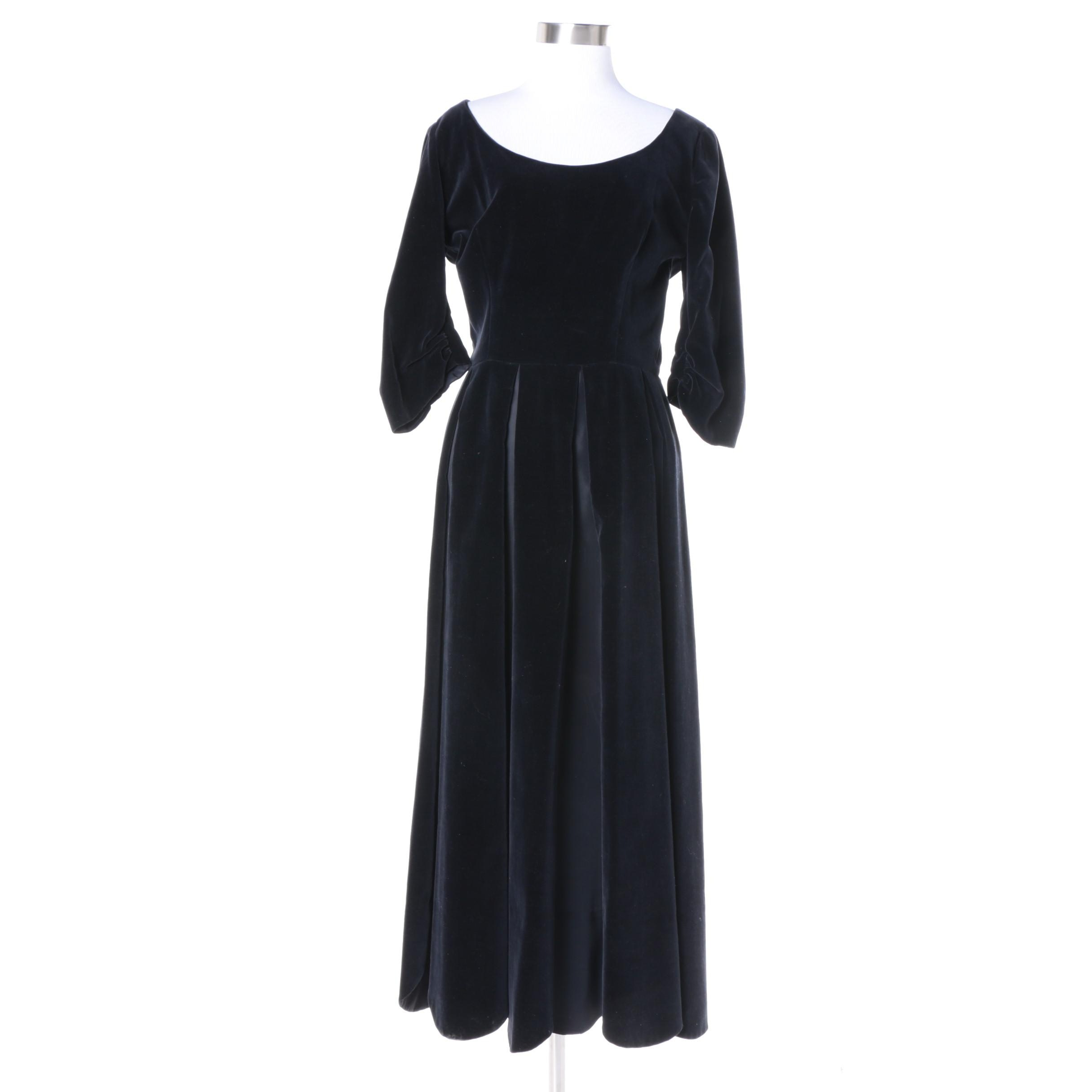 Vintage Velveteen Pleated Dress