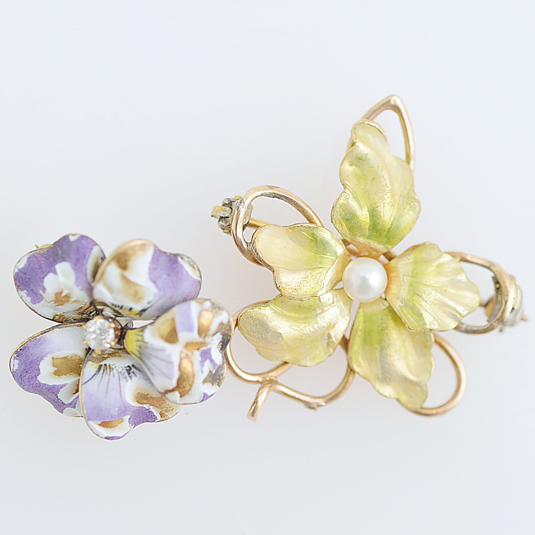 Vintage 10K Yellow Gold, Enamel, Pearl and Diamond Brooches