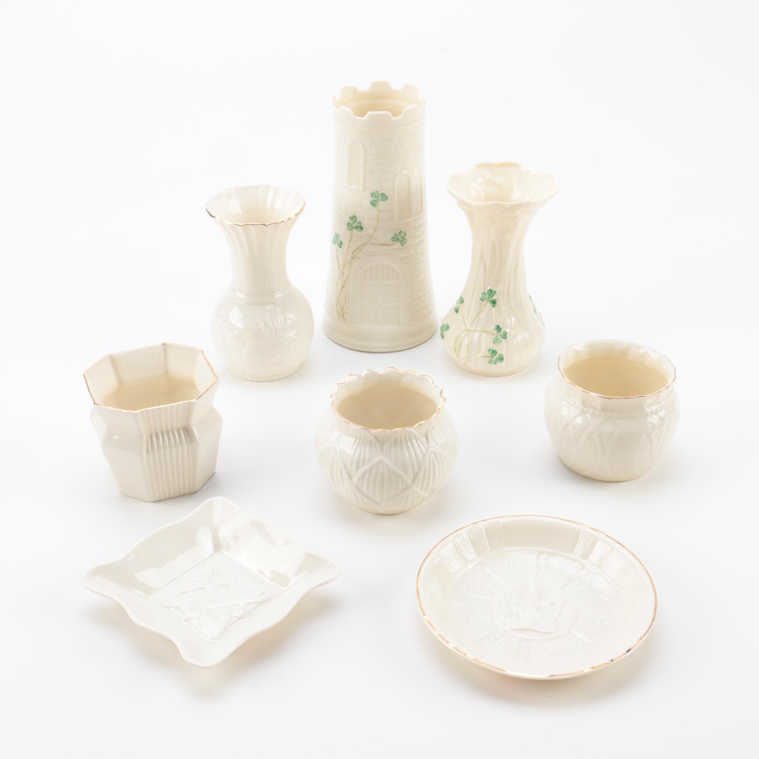 Belleek Porcelain Vases and Tableware