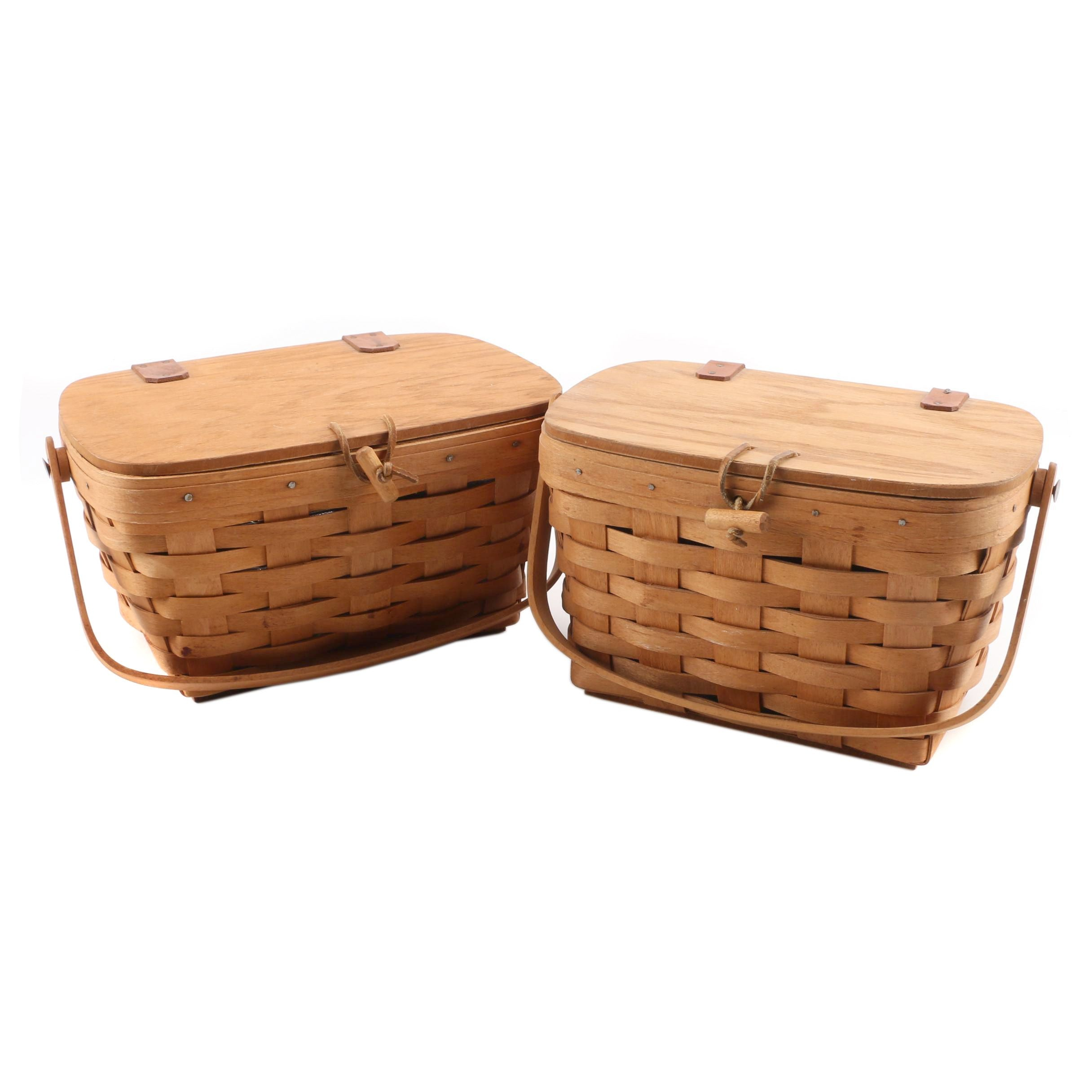 1990 and 1993 Handwoven Lidded and Handled Baskets by Longaberger