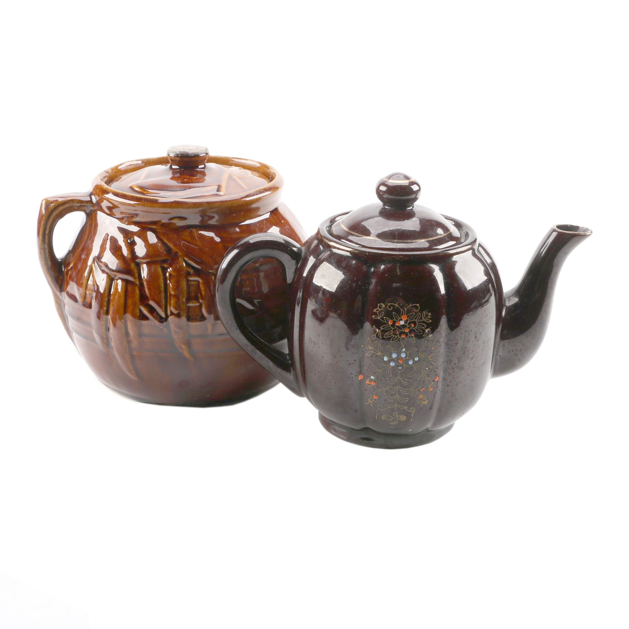 "McCoy Bean Pot and Japanese ""Brown Betty"" Teapot"