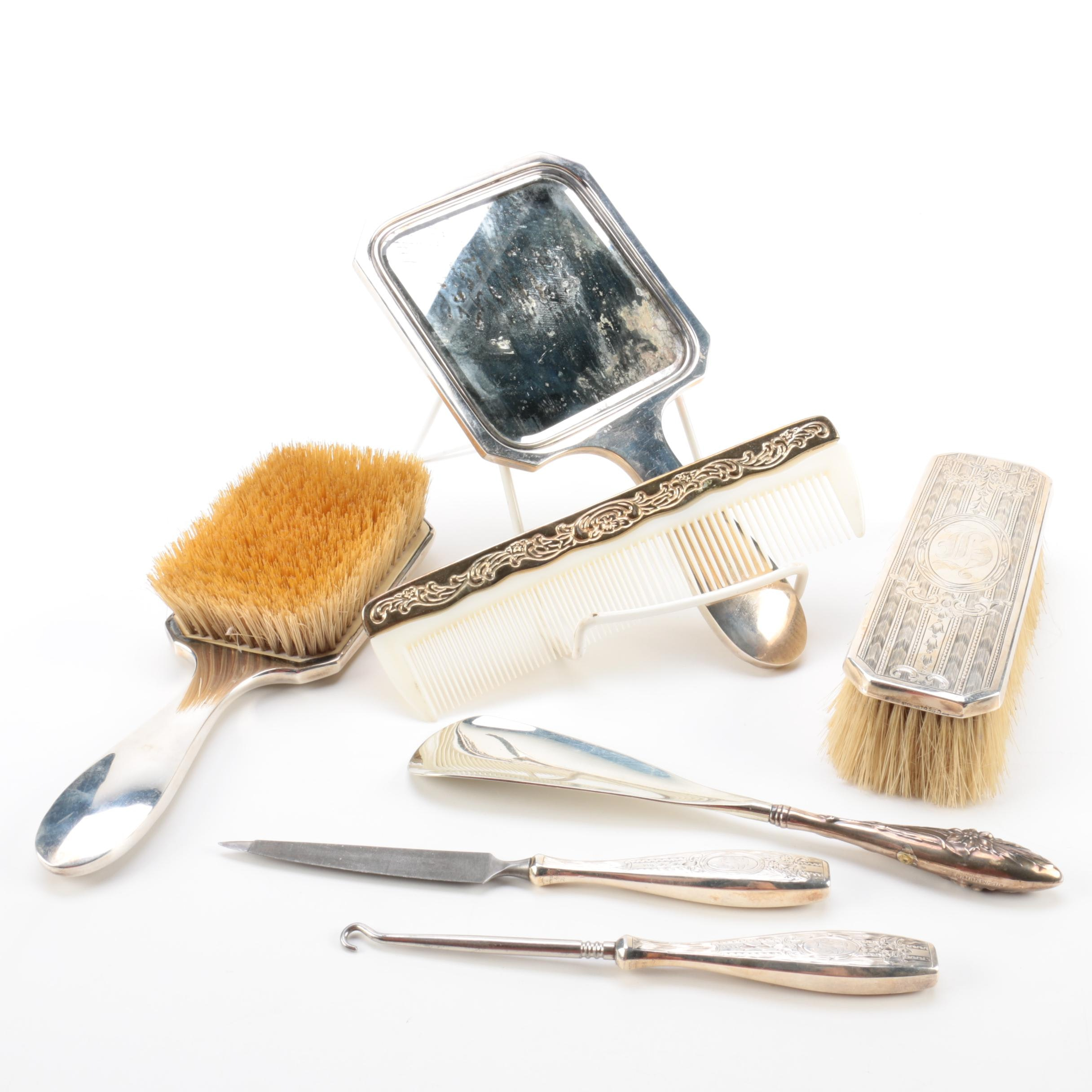 1910 Gorham Sterling Silver Hairbrush and Other Vanity Accessories