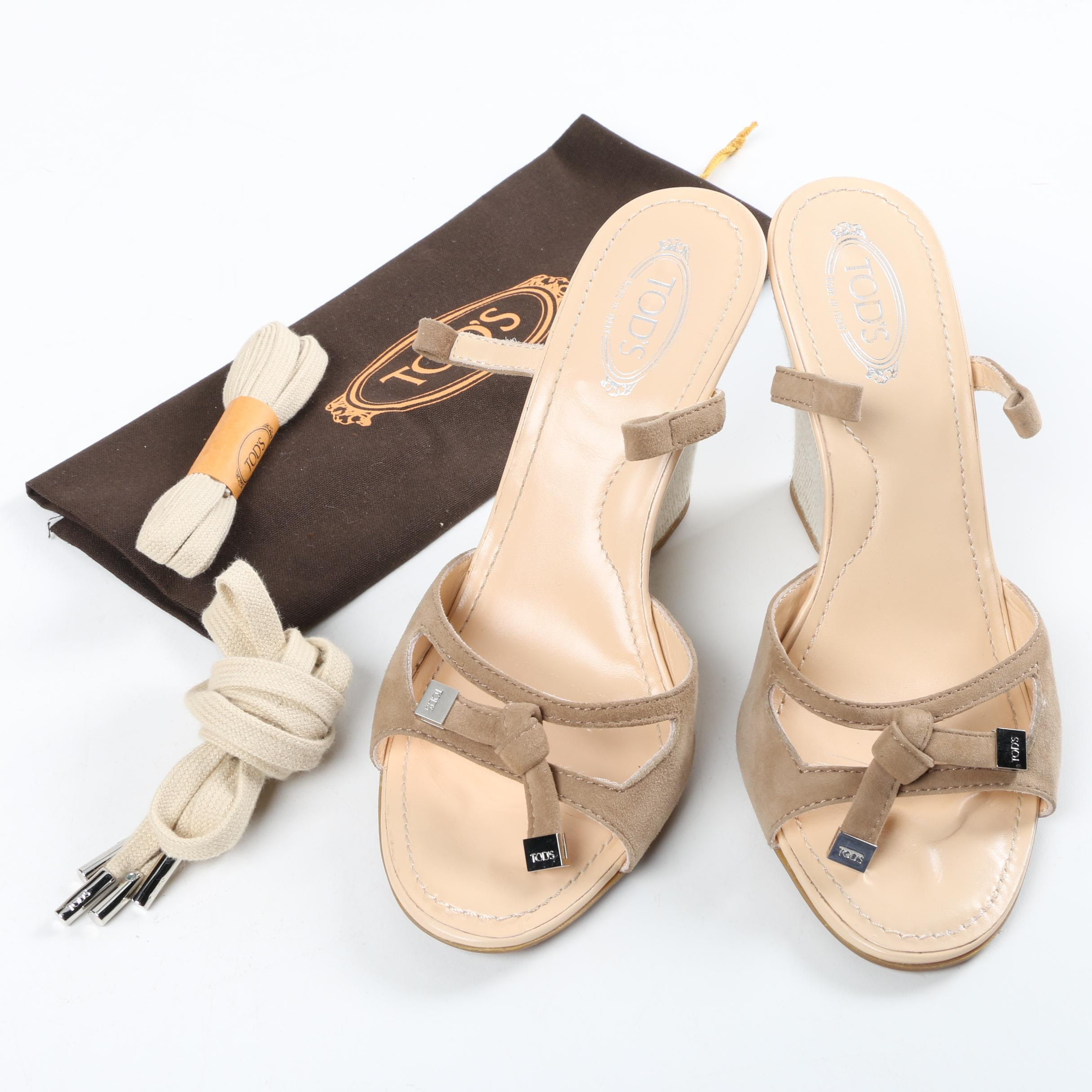 Tod's Sand Suede Laccio Nappine Lace Up Wedge Sandals