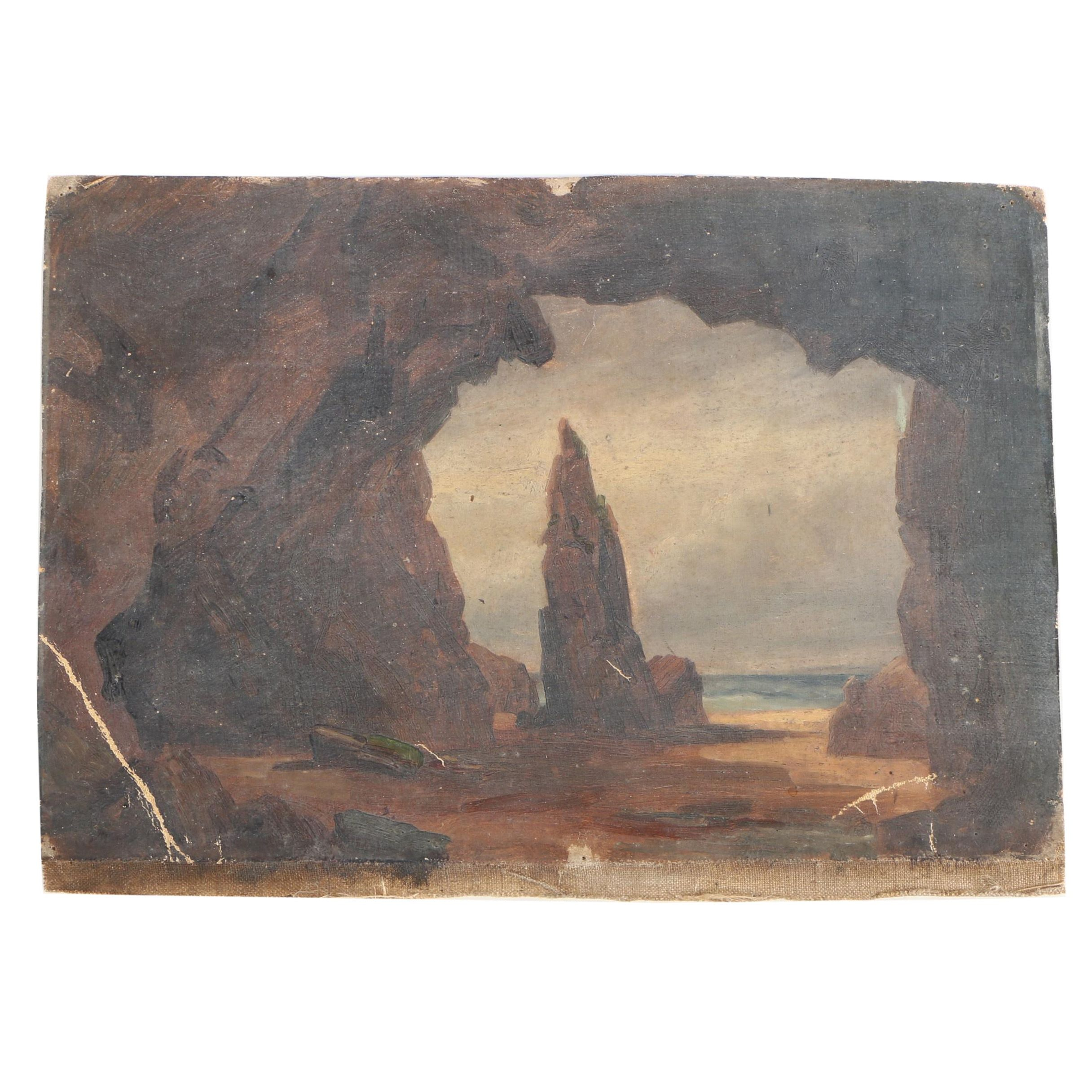 """Attributed to Philip John Ouless Oil Painting on Canvas """"Jersey Coastal Scene"""""""