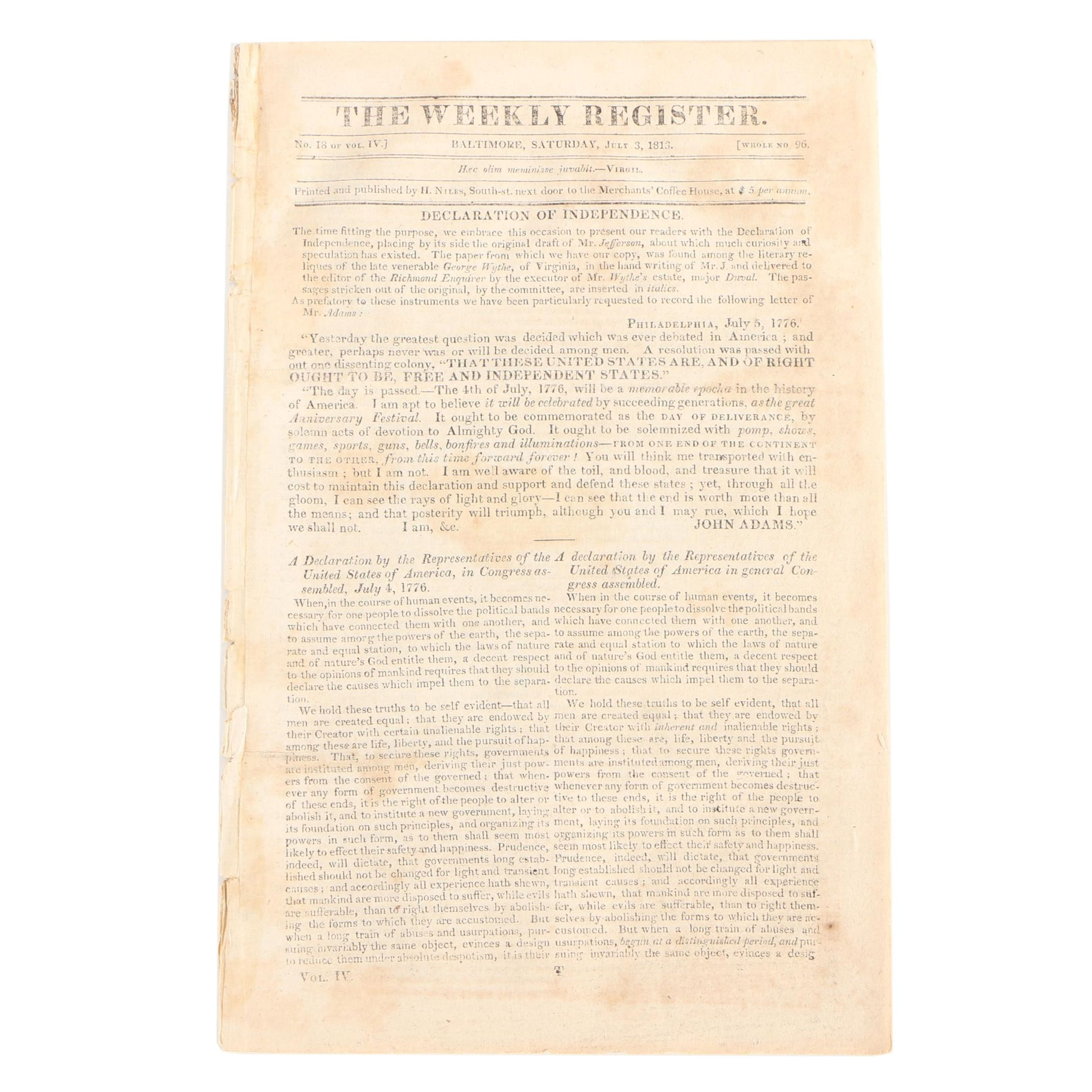 """Early 19th Century """"Weekly Register"""" Printing of the Declaration of Independence"""