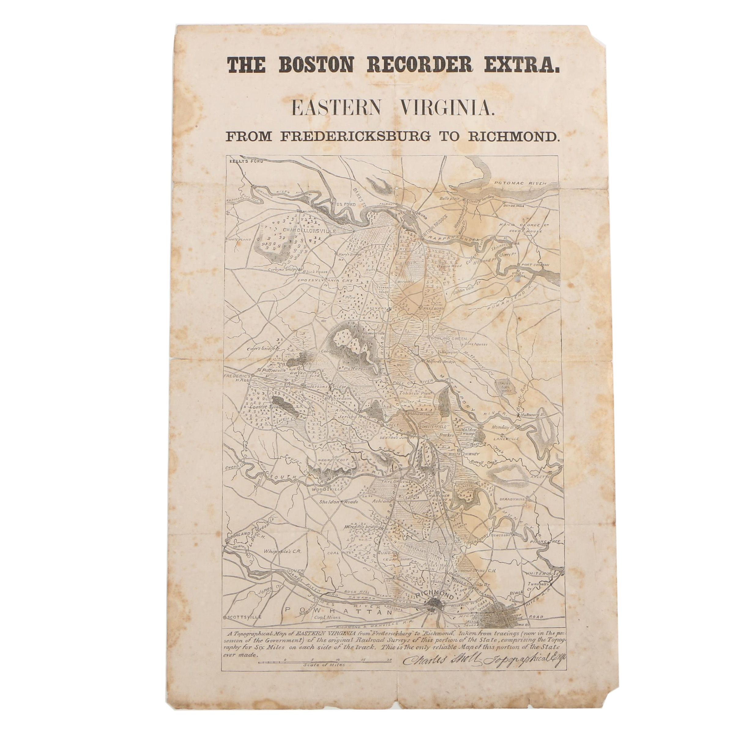 "Circa 1860 Charles Sholl Wood Engraved Map ""From Fredericksburg to Richmond"""