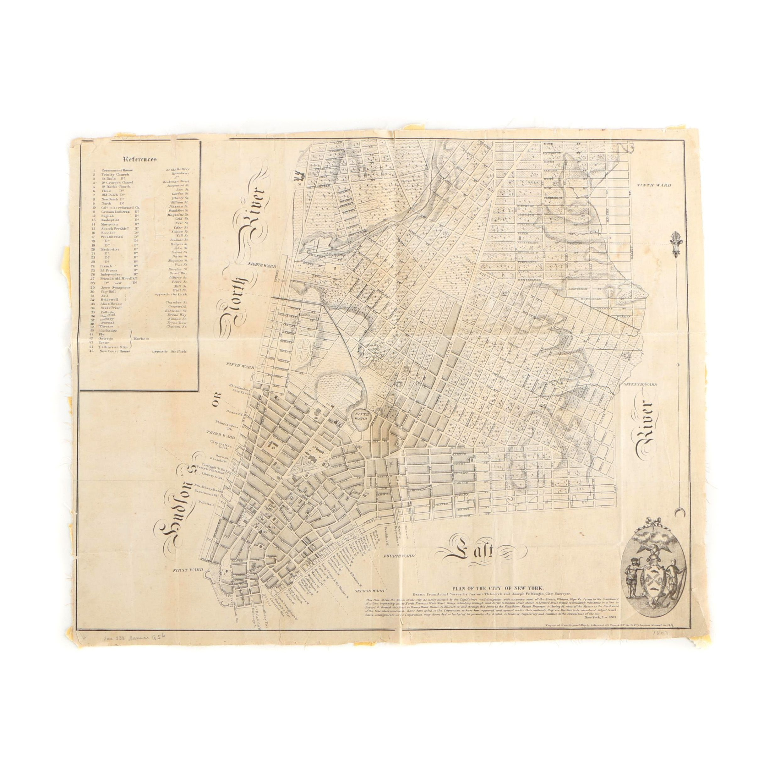 "1856 Engraved Map ""Plan for the City of New York"" by George Hayward"