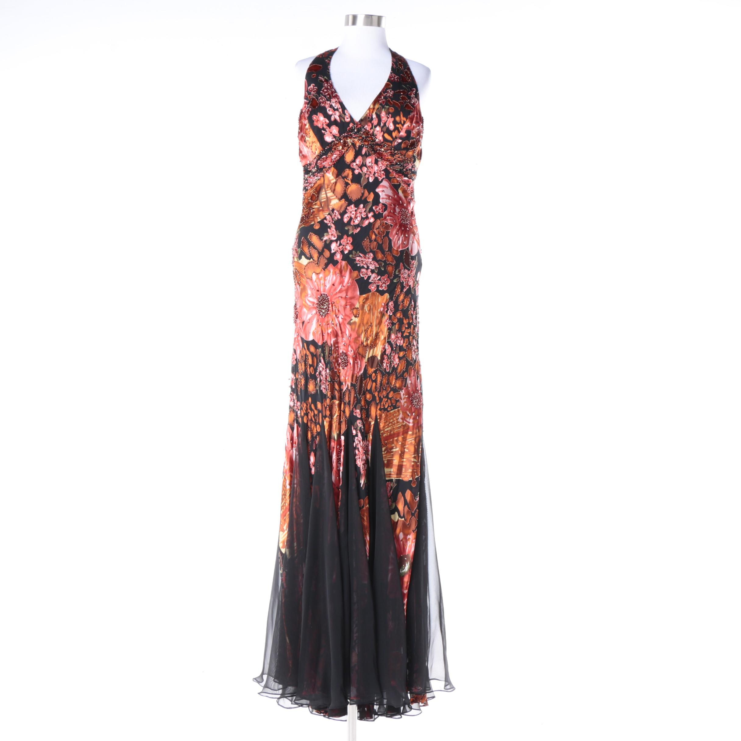 Sue Wong Nocturne Embellished Silk and Rayon Blend Sleeveless Gown