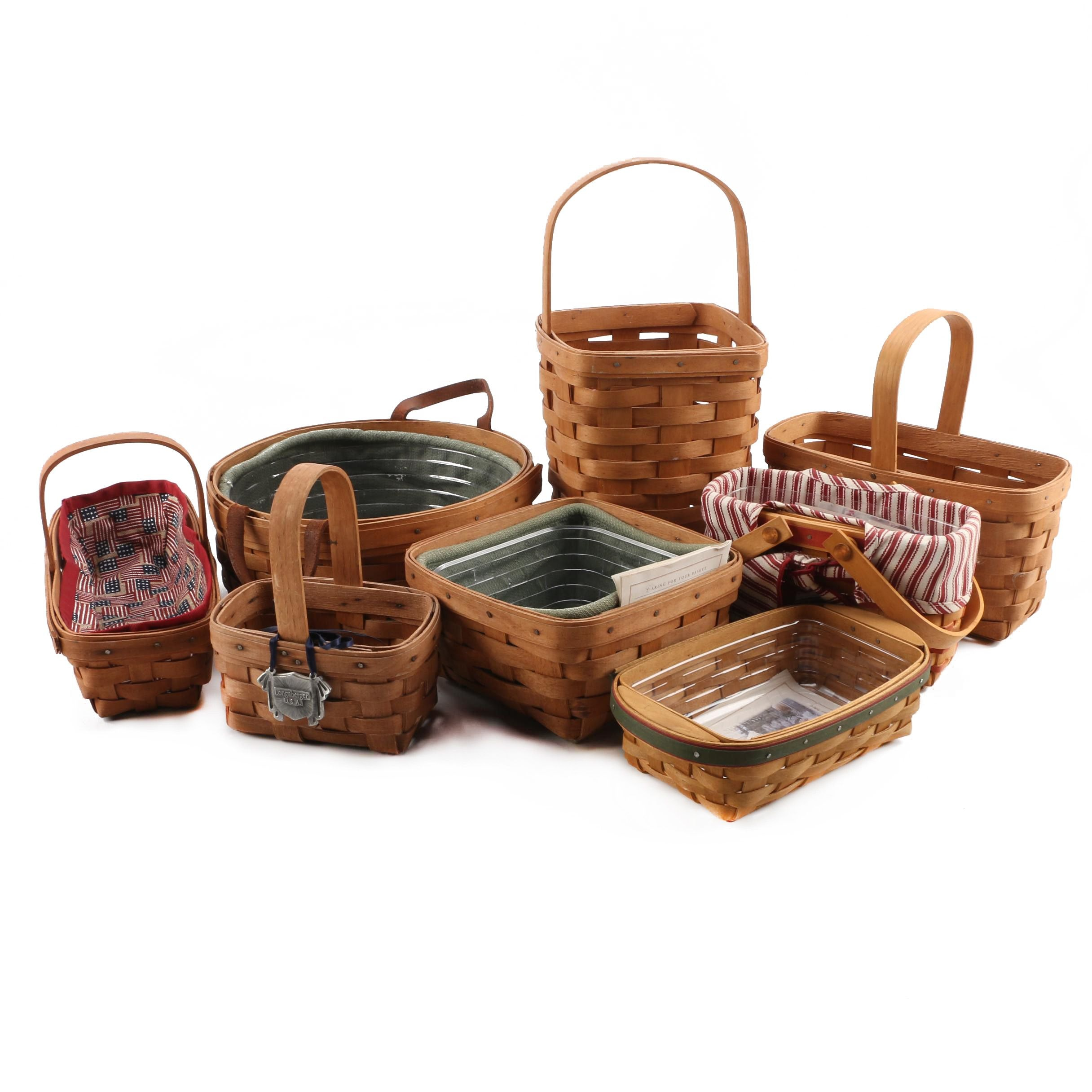 Handwoven Longaberger Baskets with Several Cloth and Plastic Liners